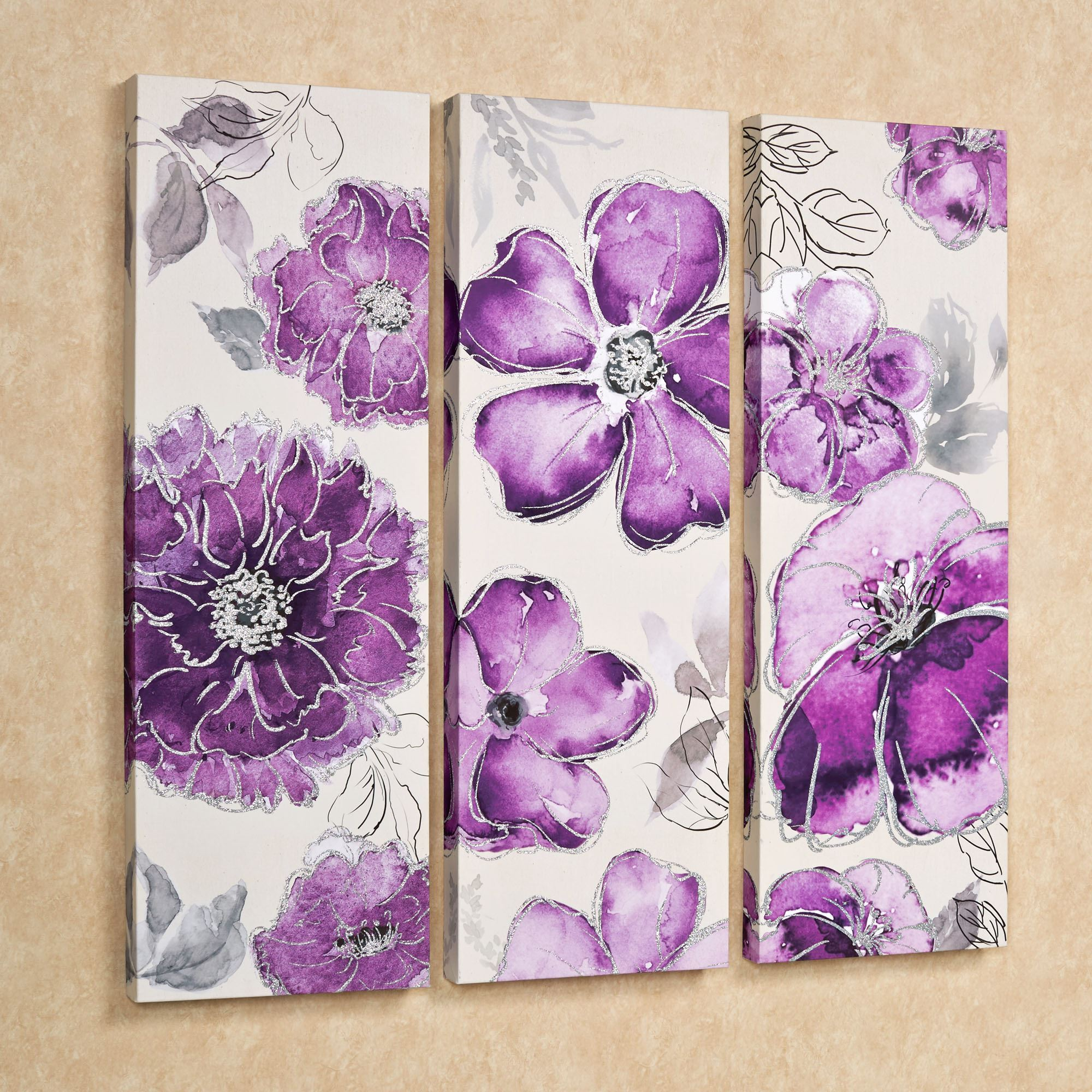Pretty in Floral Canvas Triptych Wall Art Set