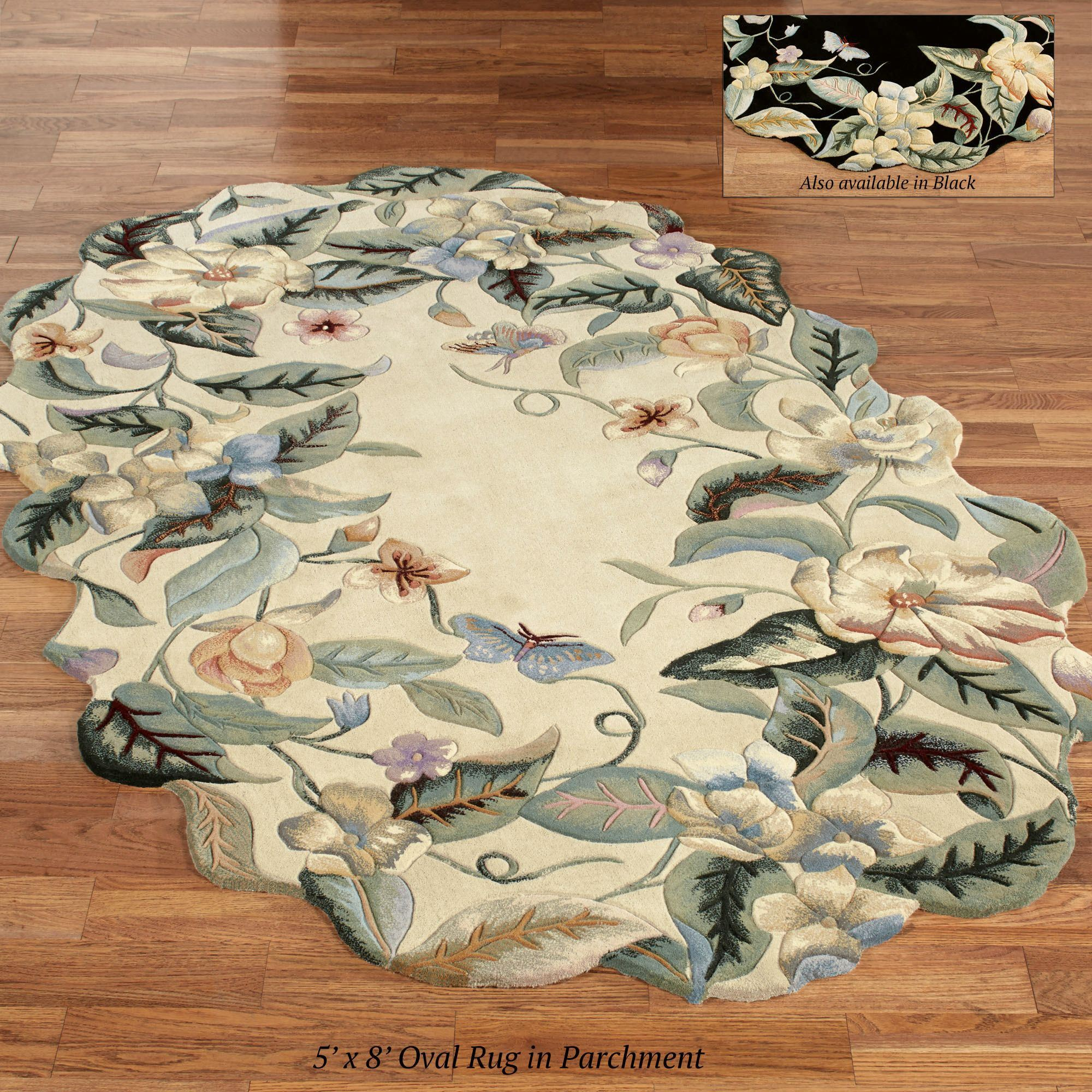 Magnolia Butterfly Sculpted Oval Rugs