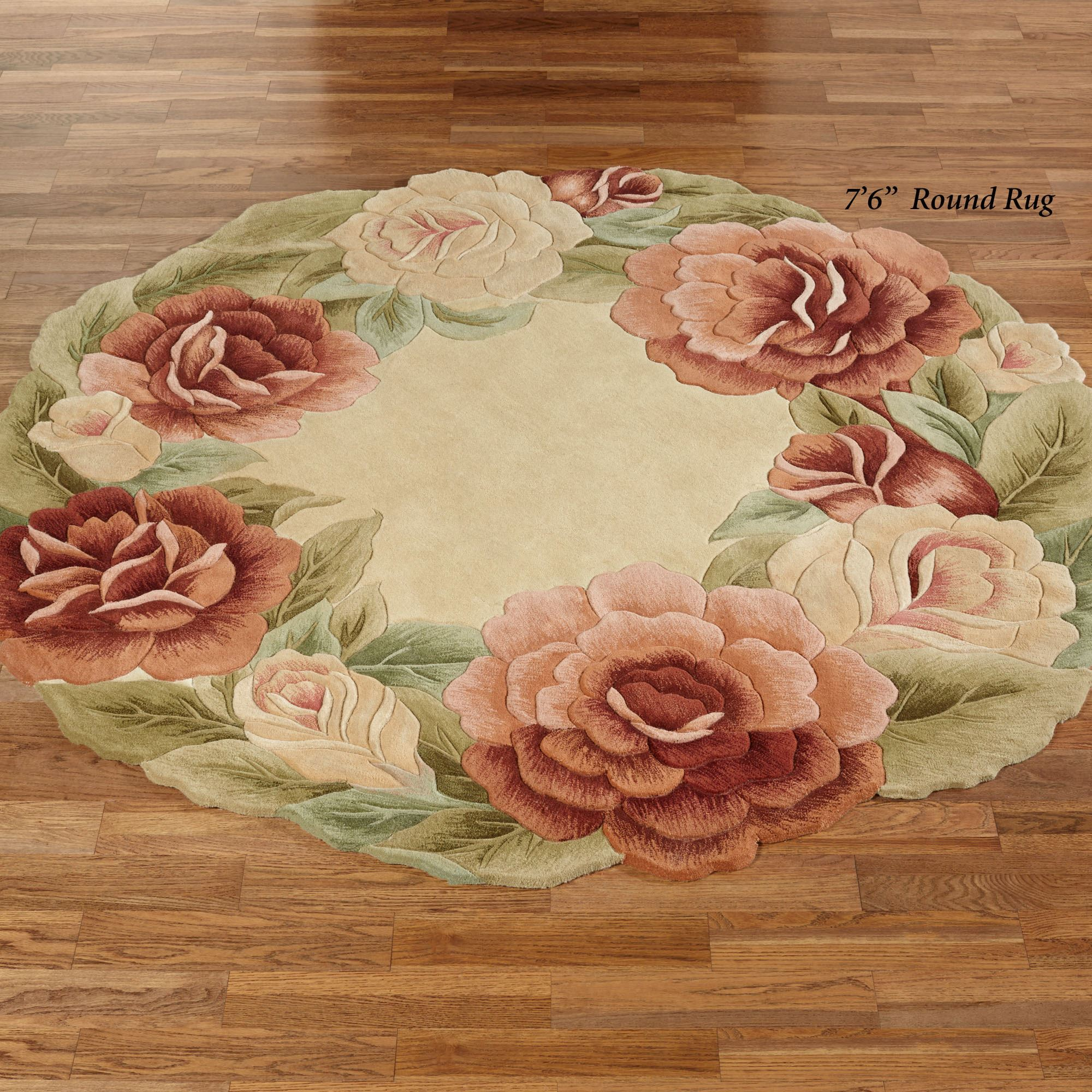 Garland Rose Sculpted Floral Round Rugs