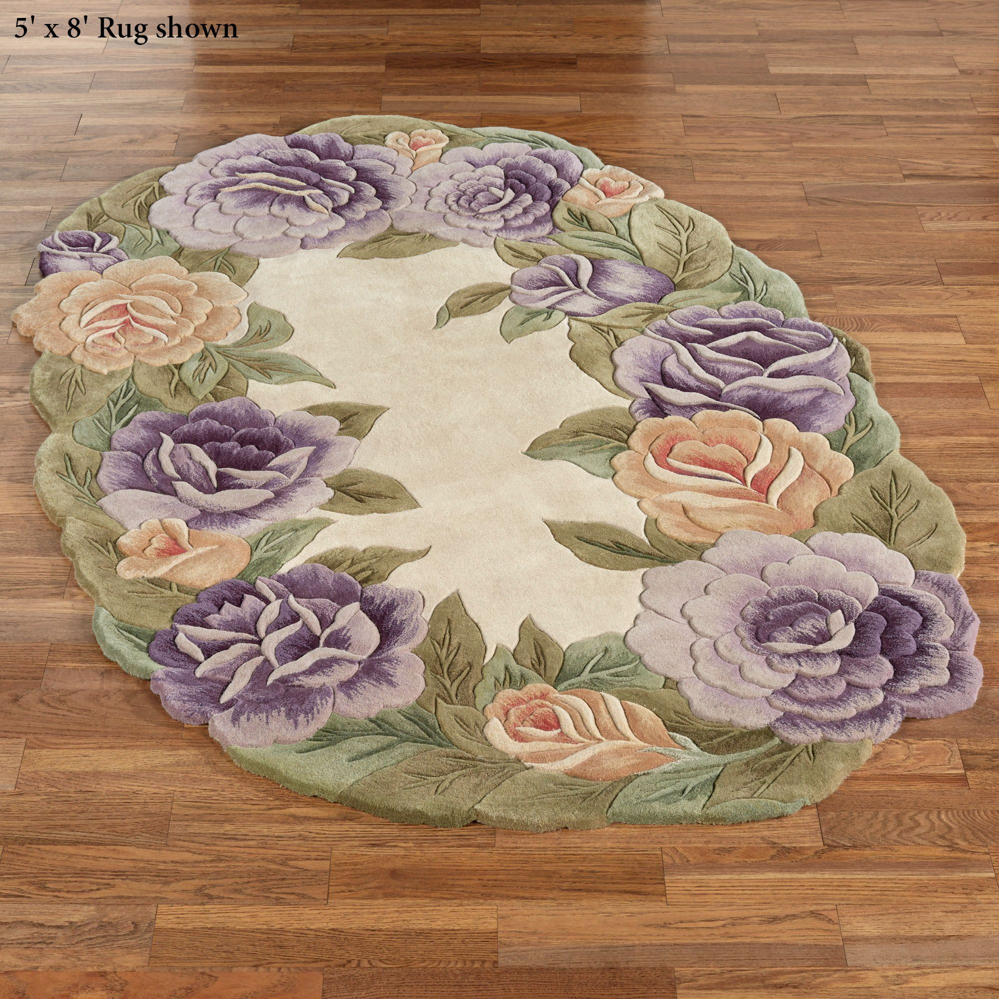 Mystic Garden Sculpted Floral Oval Rugs