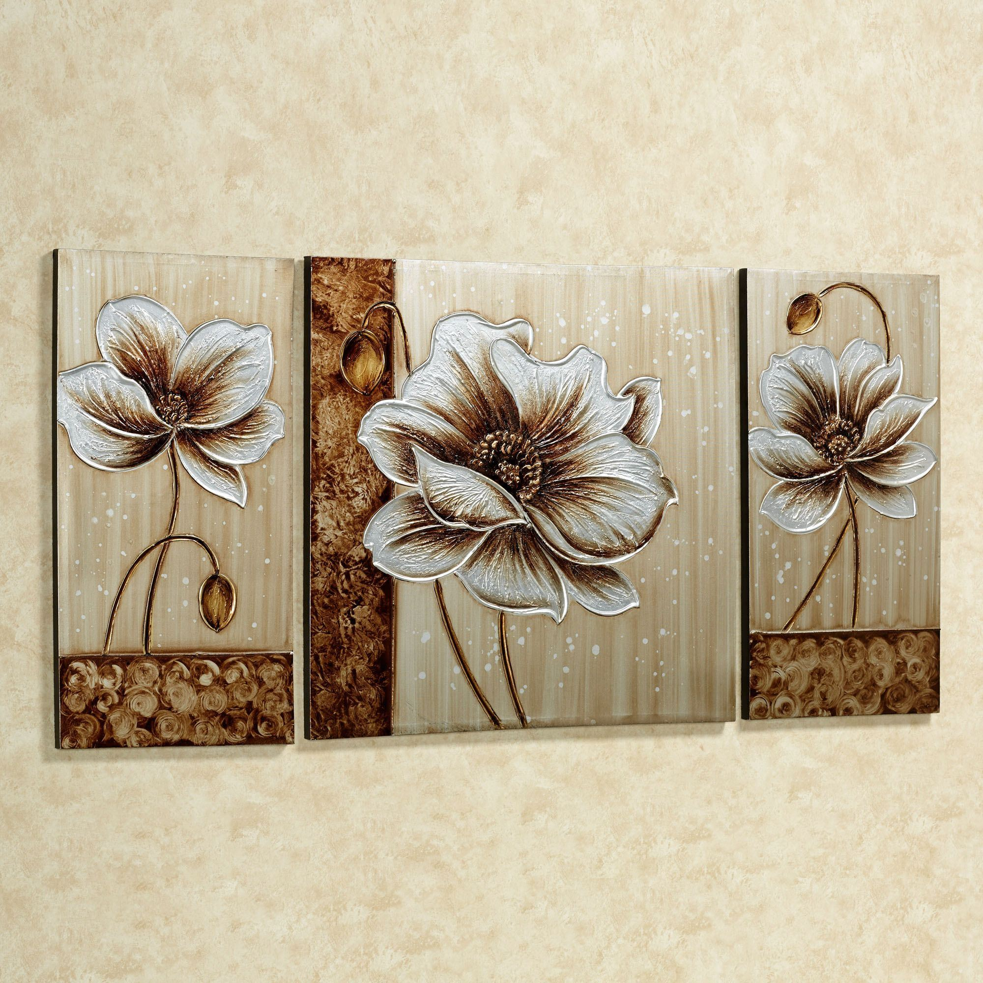Touch to zoom & Subtle Elegance Floral Canvas Wall Art Set