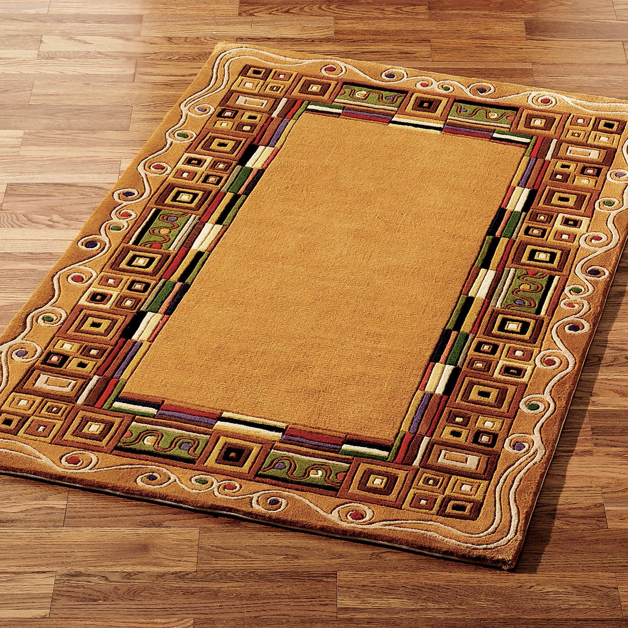 Inlaid Border Area Rug Gold