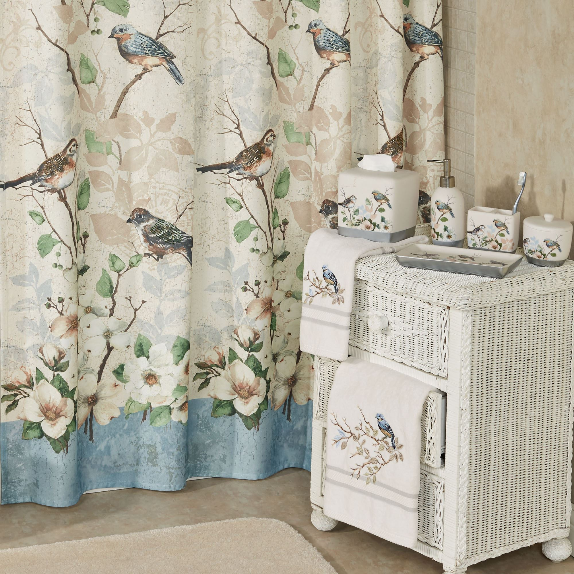 mildew in fabric decor curtains decorations flamingo parrot curtain leaves from home bird item waterproof bathroom shower polyester palm resistant