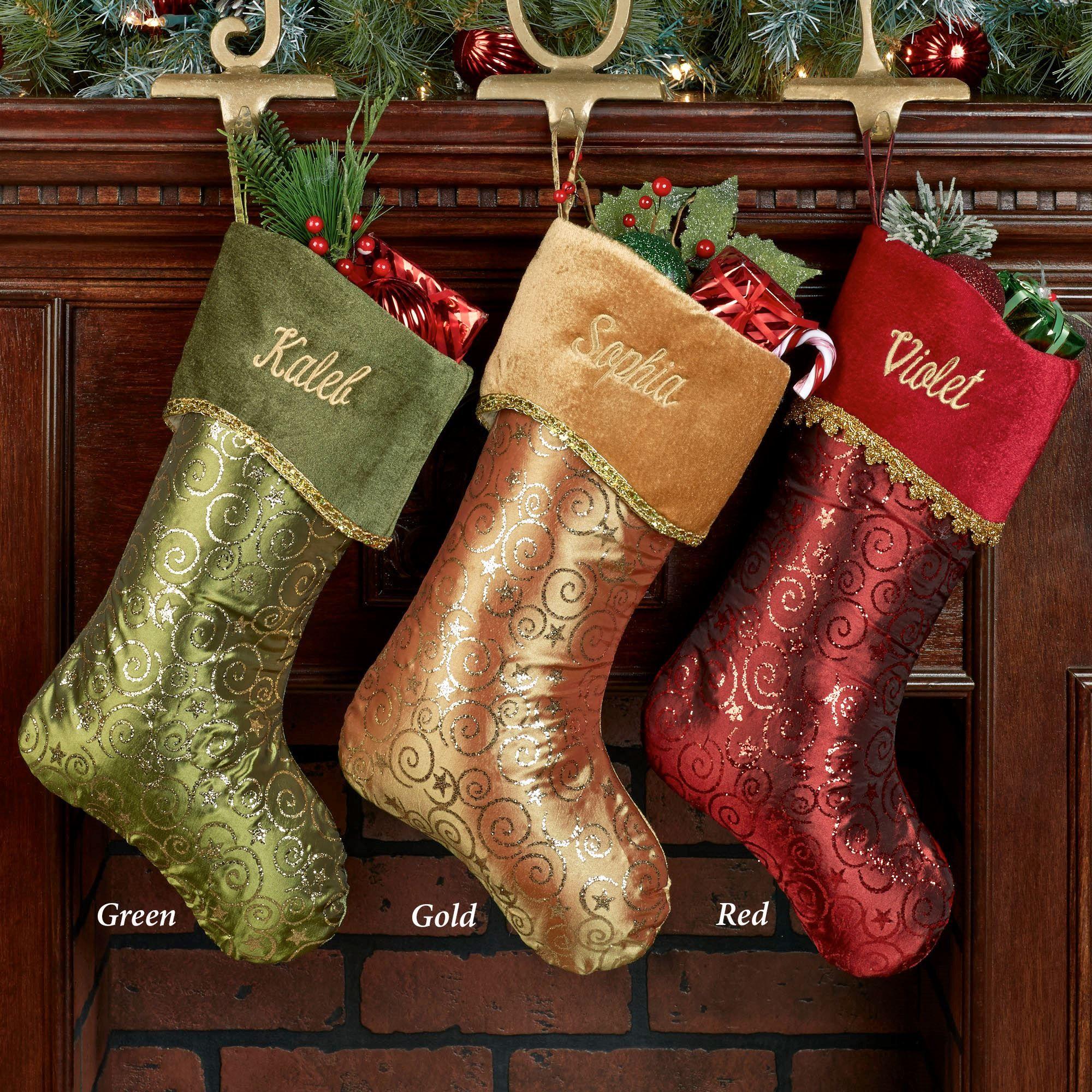 glitter swirl christmas stocking - Gold Christmas Stocking