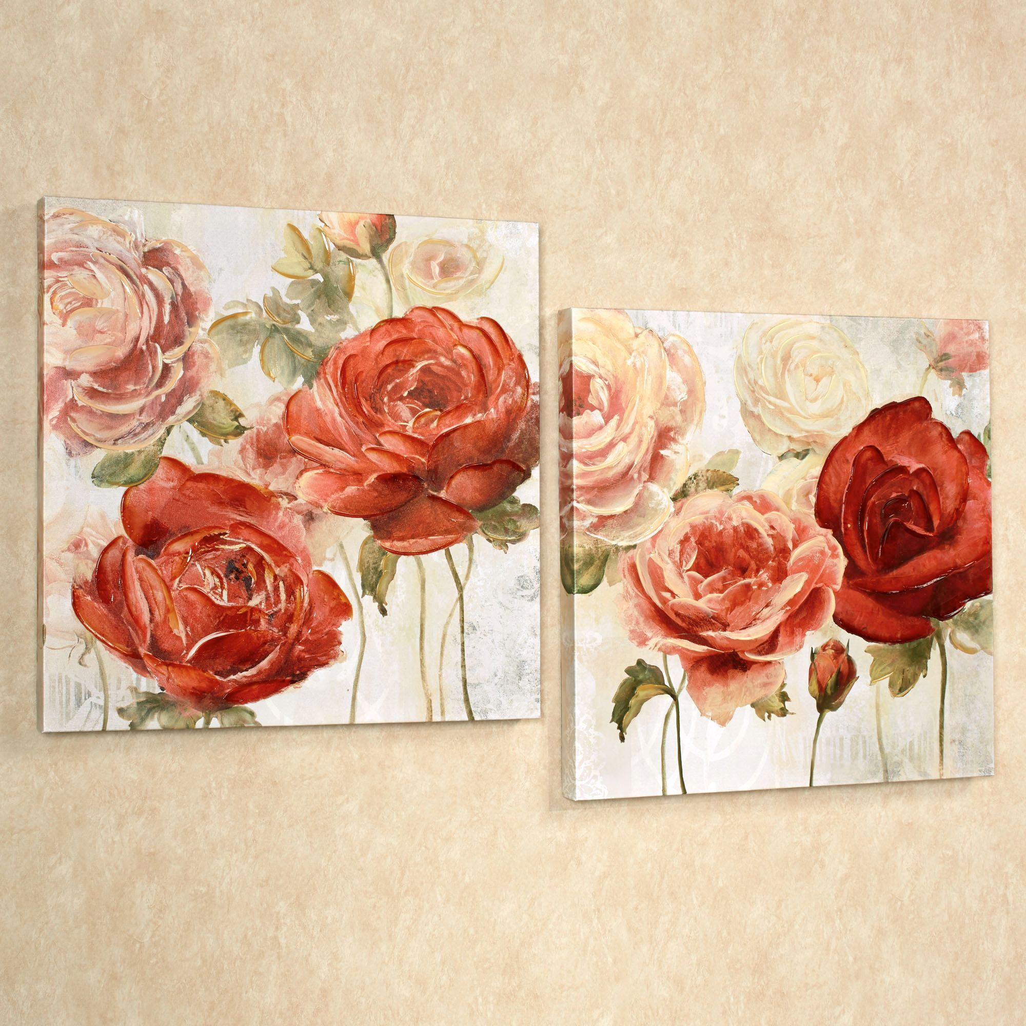 radiant blooms rose floral canvas wall art set