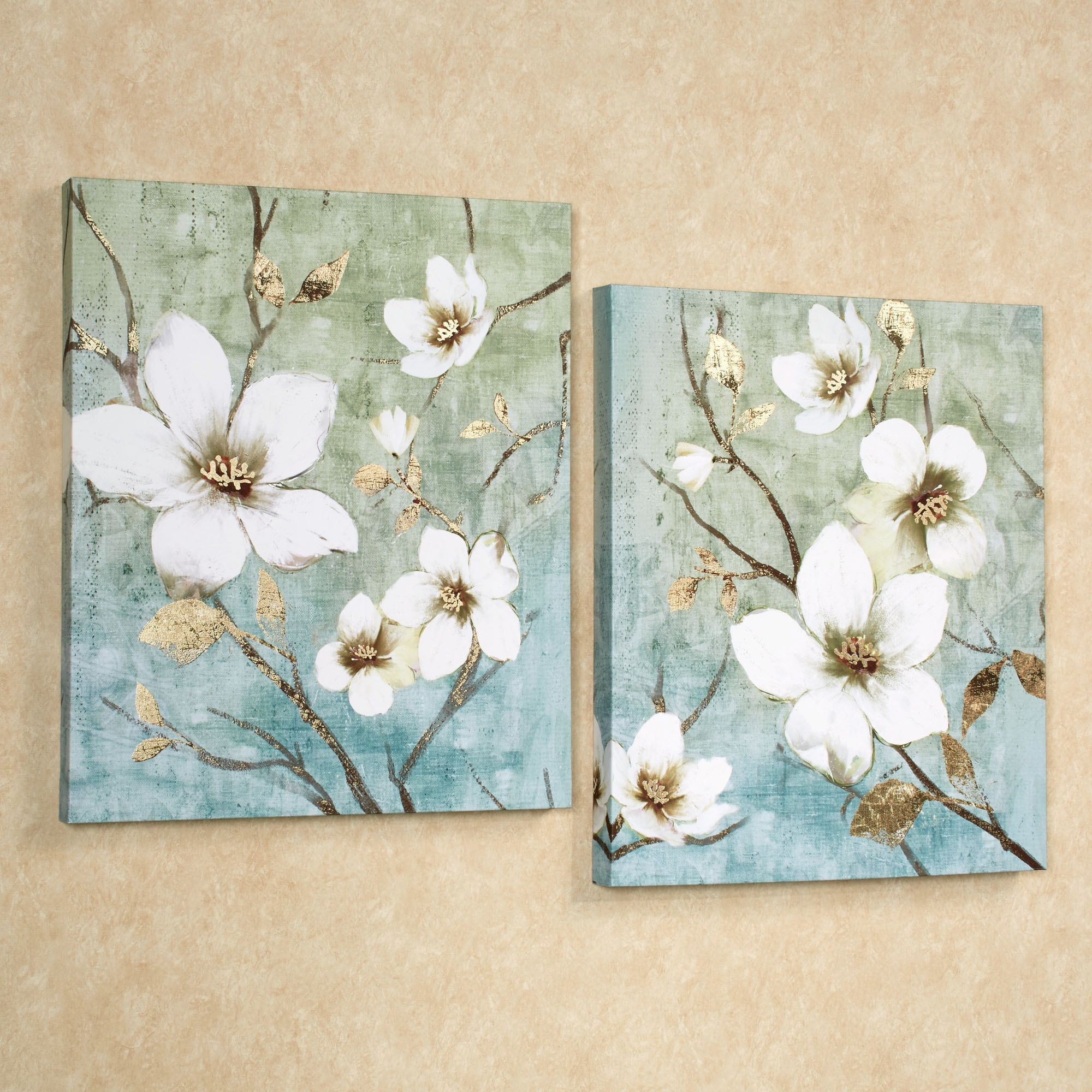 In bloom floral canvas wall art set for Flower paintings on canvas