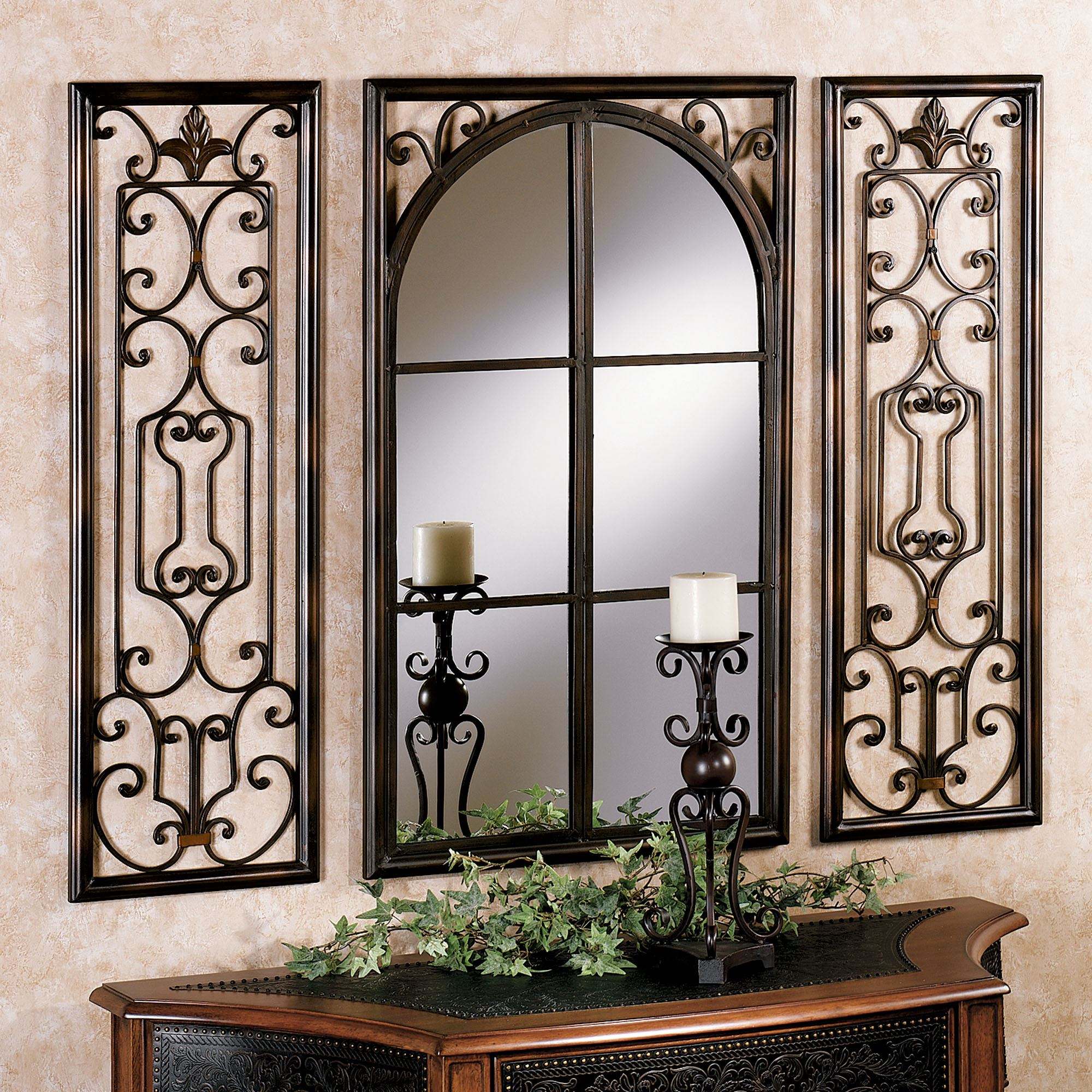 Provence bronze finish wall mirror set for Wall mirrors for bedrooms
