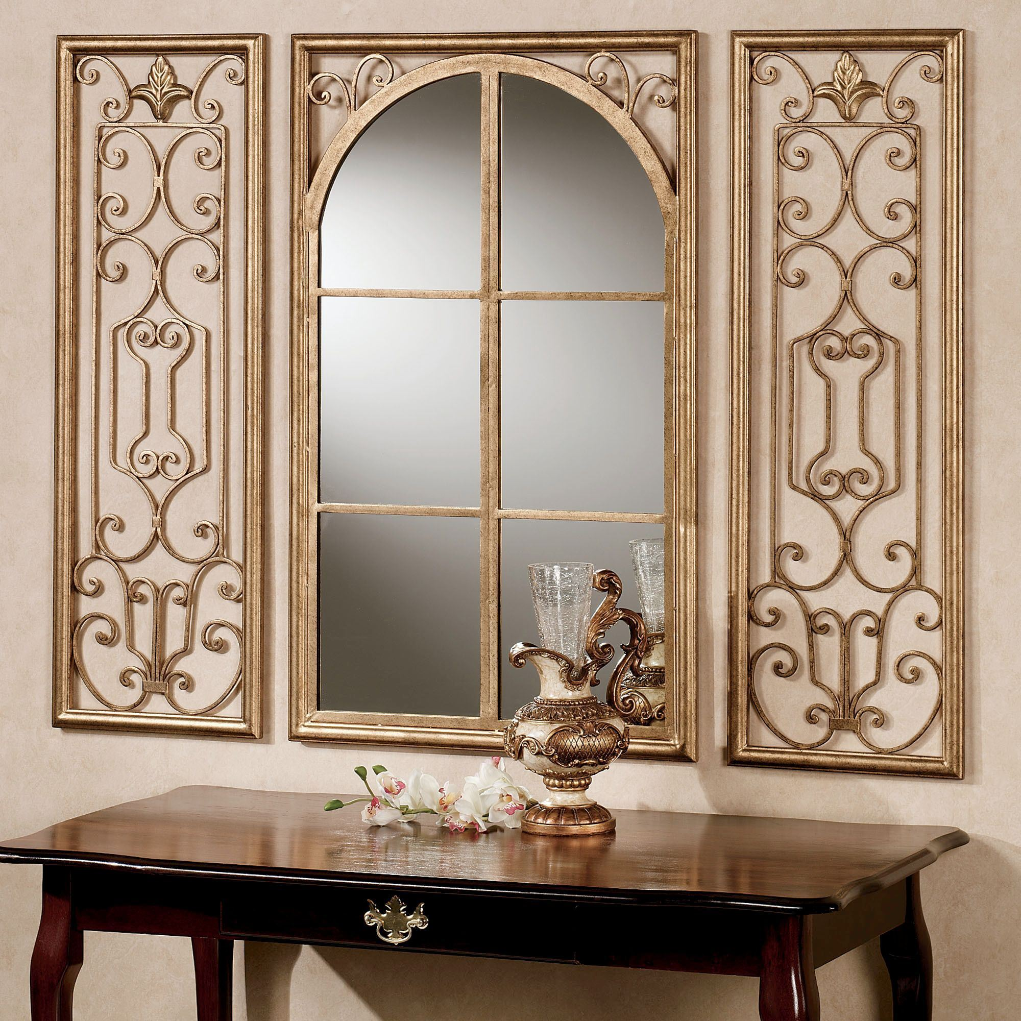 Superbe Provence Antique Gold Wall Mirror Set Of Three. Click To Expand