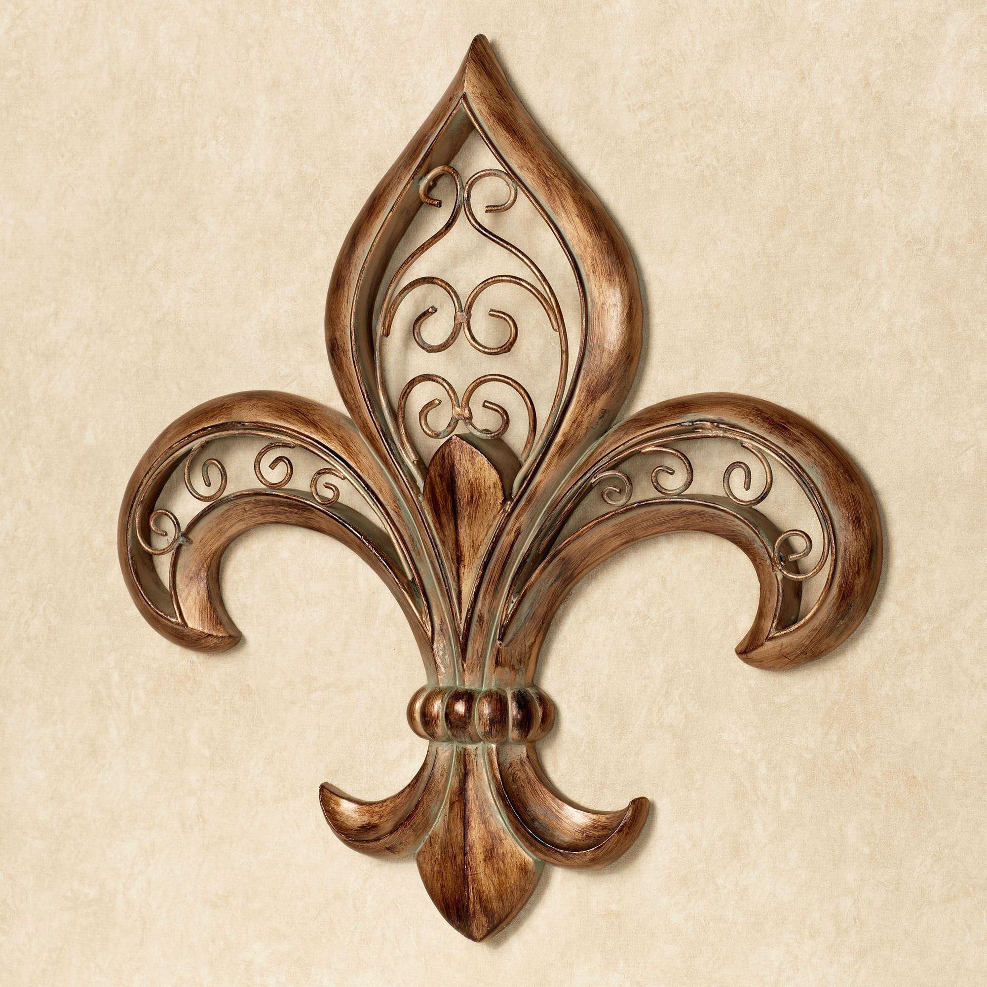 adalina burnished gold fleur de lis wall art. Black Bedroom Furniture Sets. Home Design Ideas