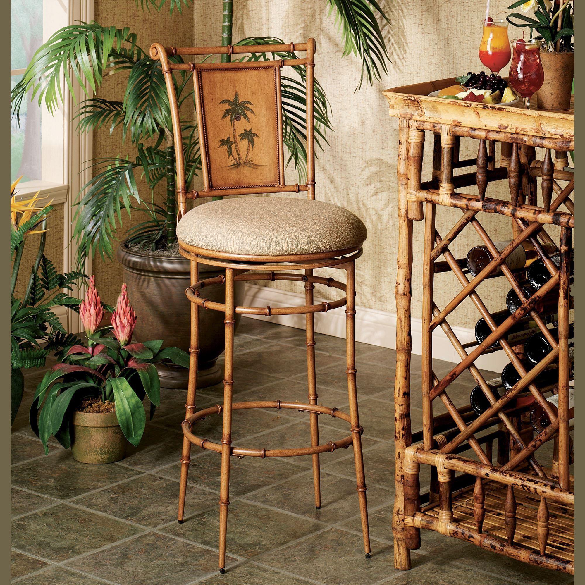 Royal Palm Tree Swivel Counter Stools