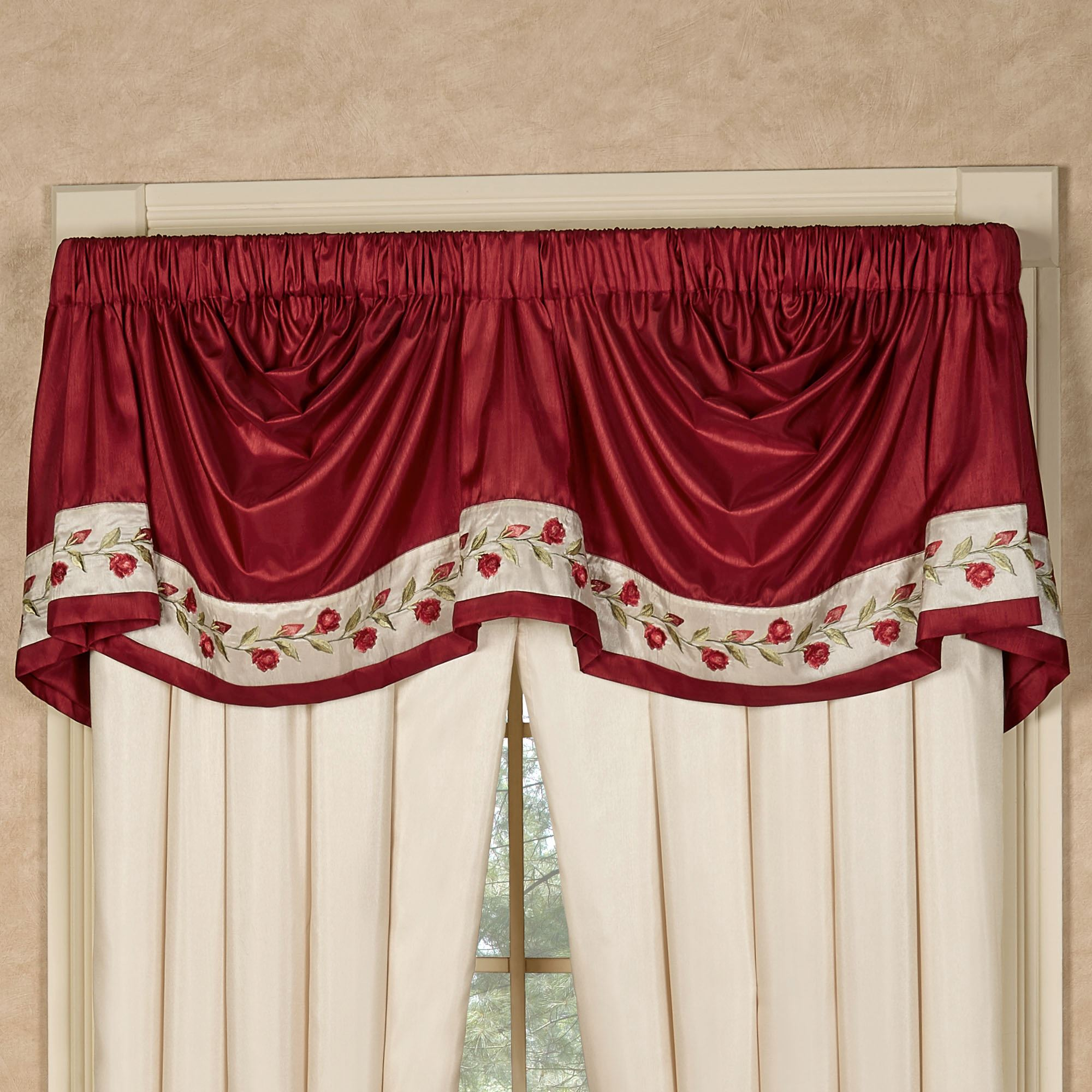 Briar Rose Embroidered Red Floral Shower Curtain