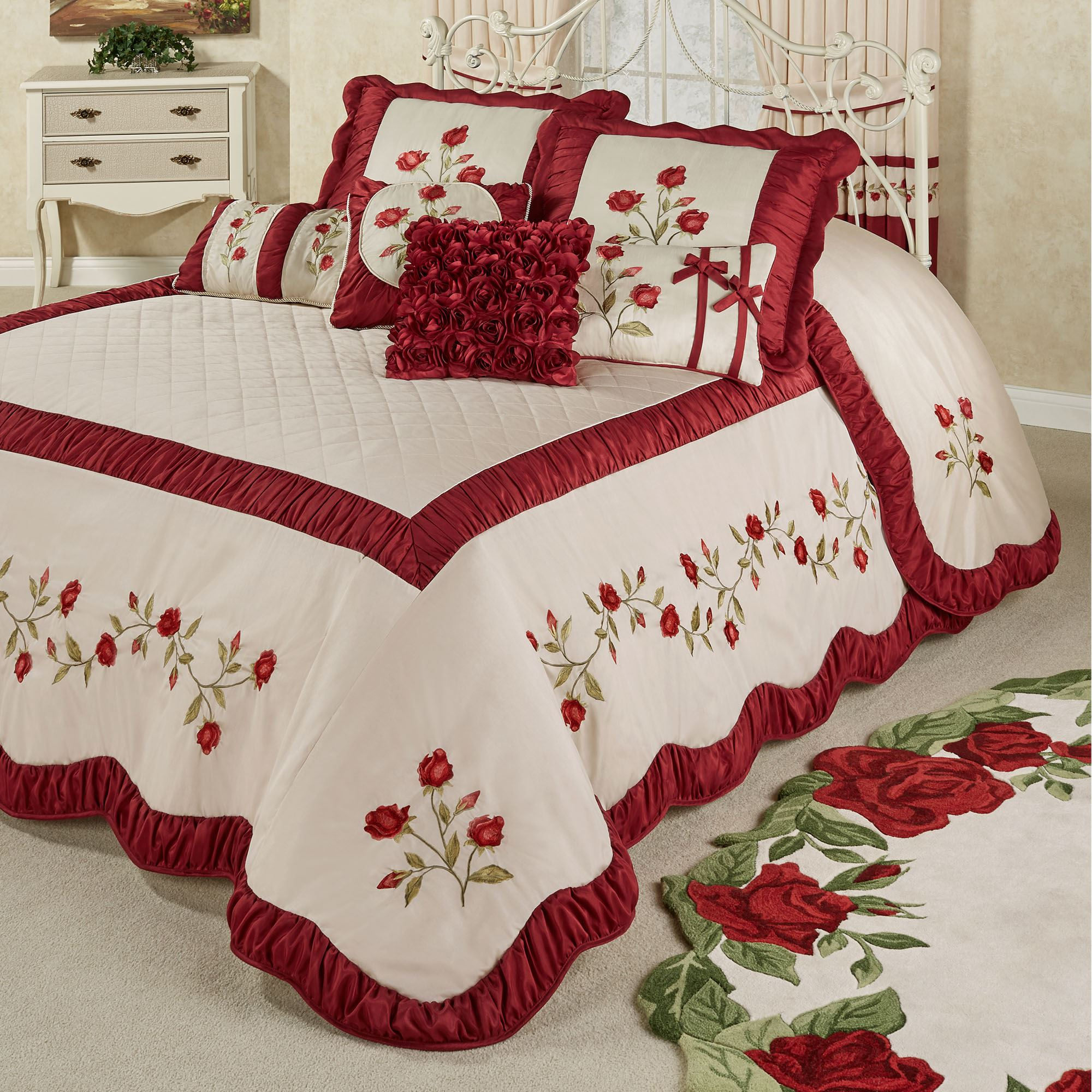 Briar Rose Dark Red Floral Romantic Oversized Bedspread Bedding
