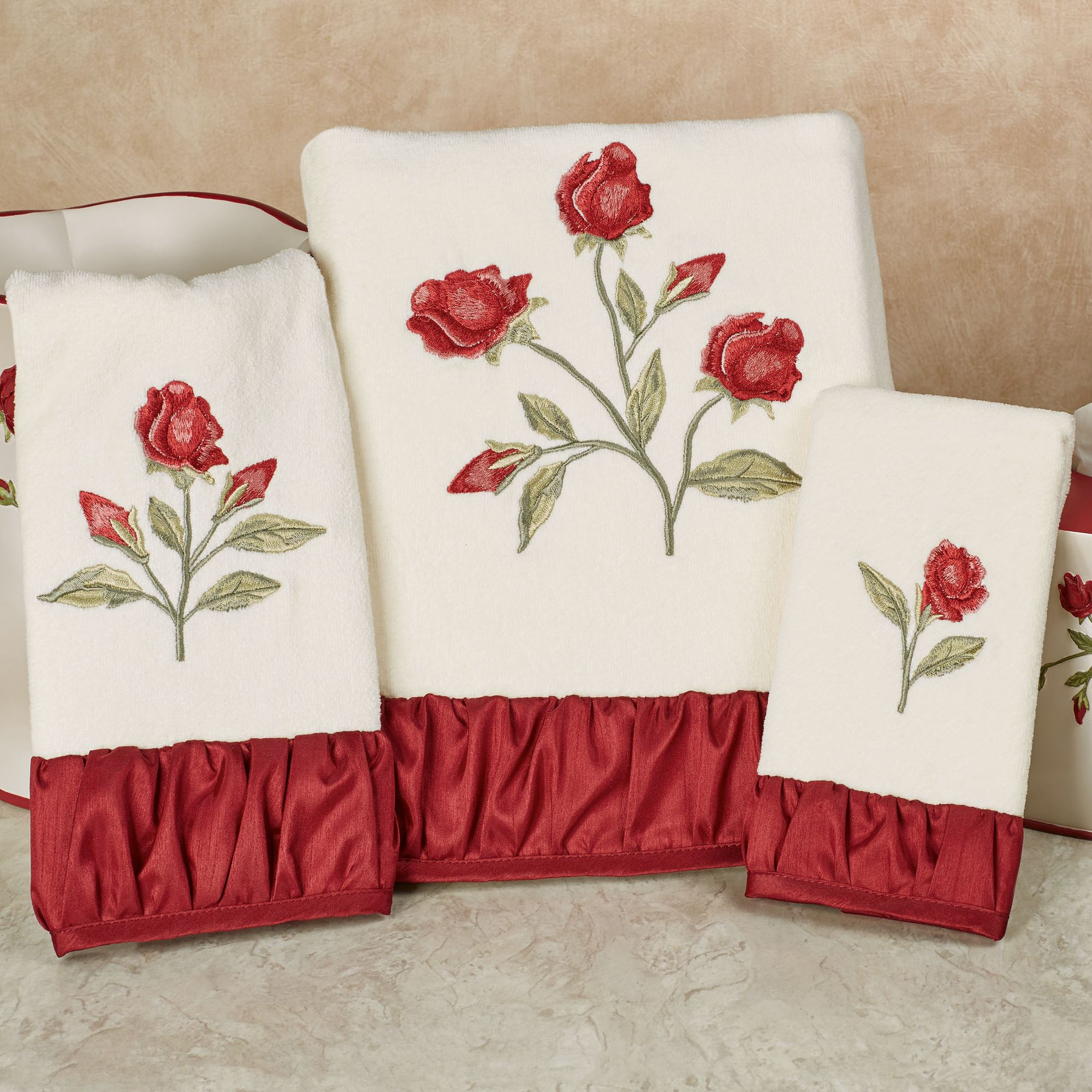 Briar Rose Embroidered Red Floral Bath Towel Set