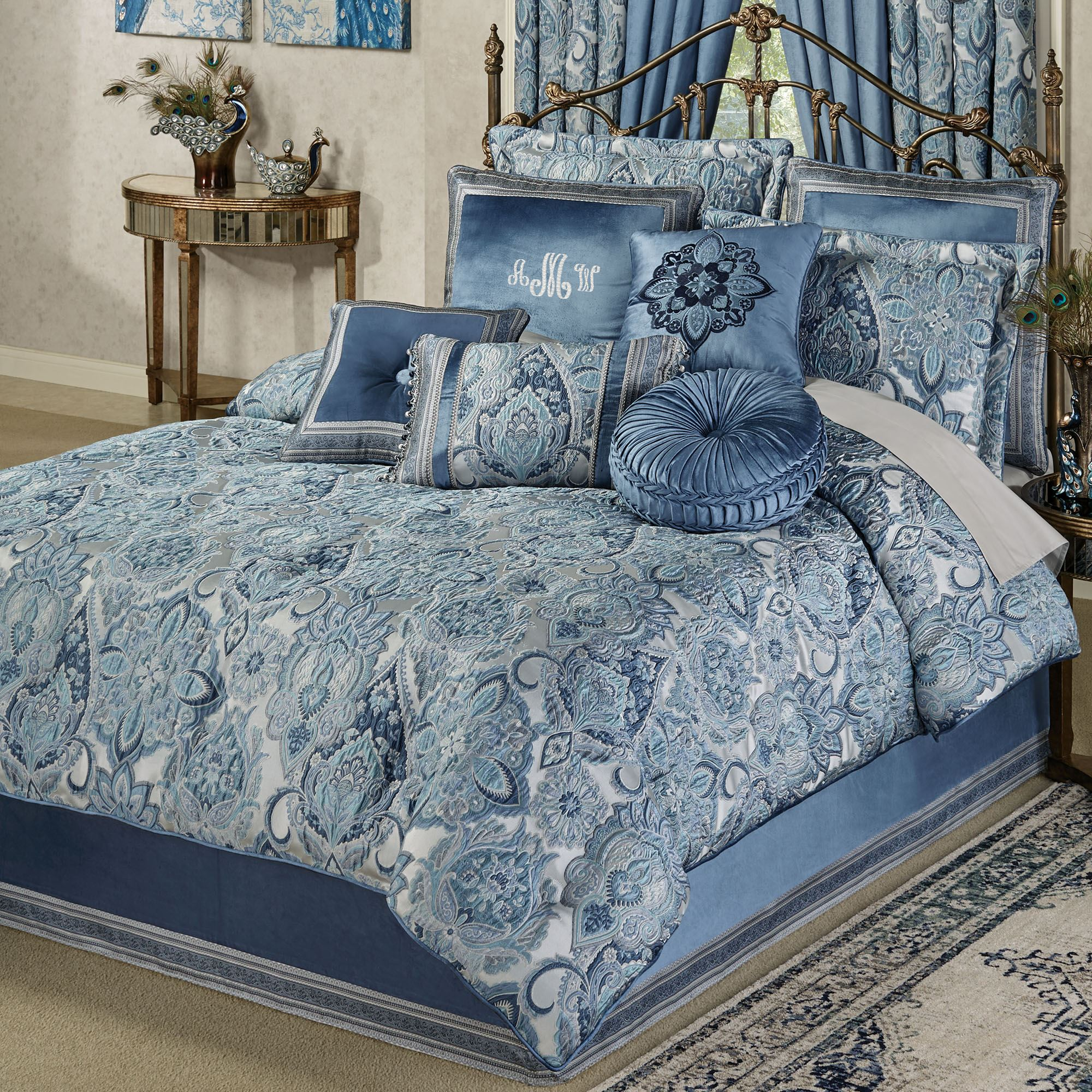 Well-known Arabelle Jacobean Damask Blue Comforter Bedding IJ42