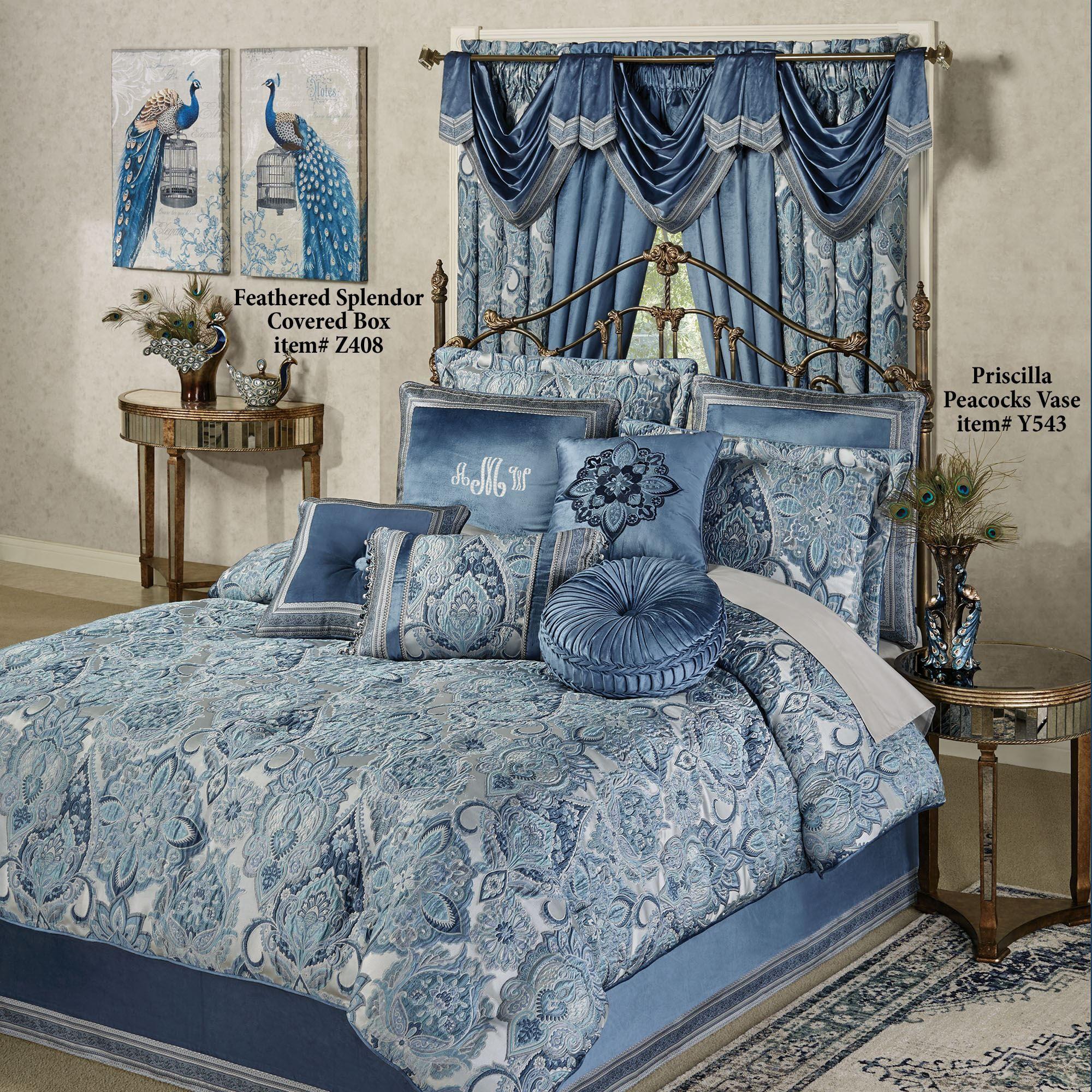 Arabelle Jacobean Damask Blue Comforter Bedding