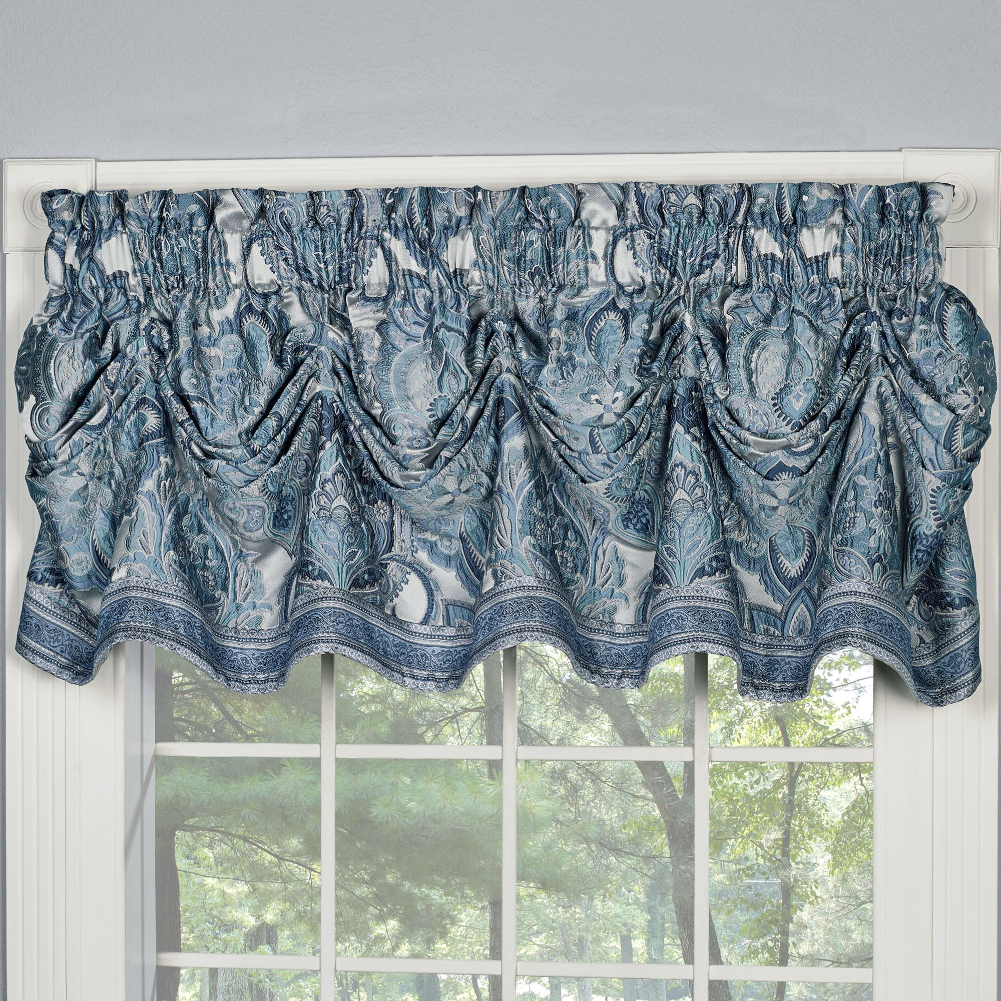 target valances size swag beaded royal of valance curtain full blue waterfall