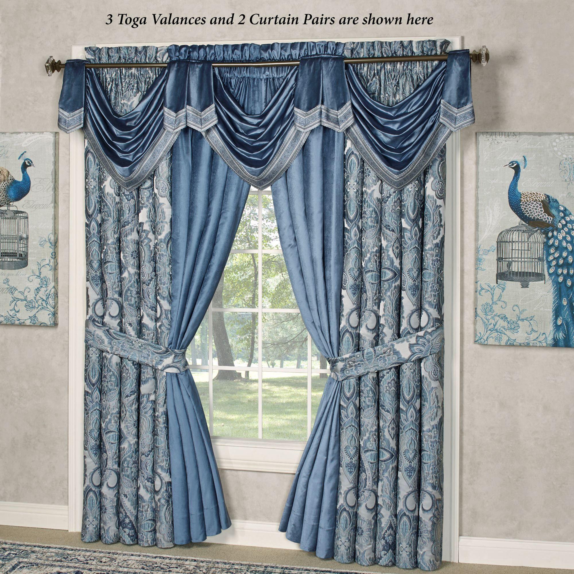 Arabelle Blue Toga Swag Valance Window Treatment