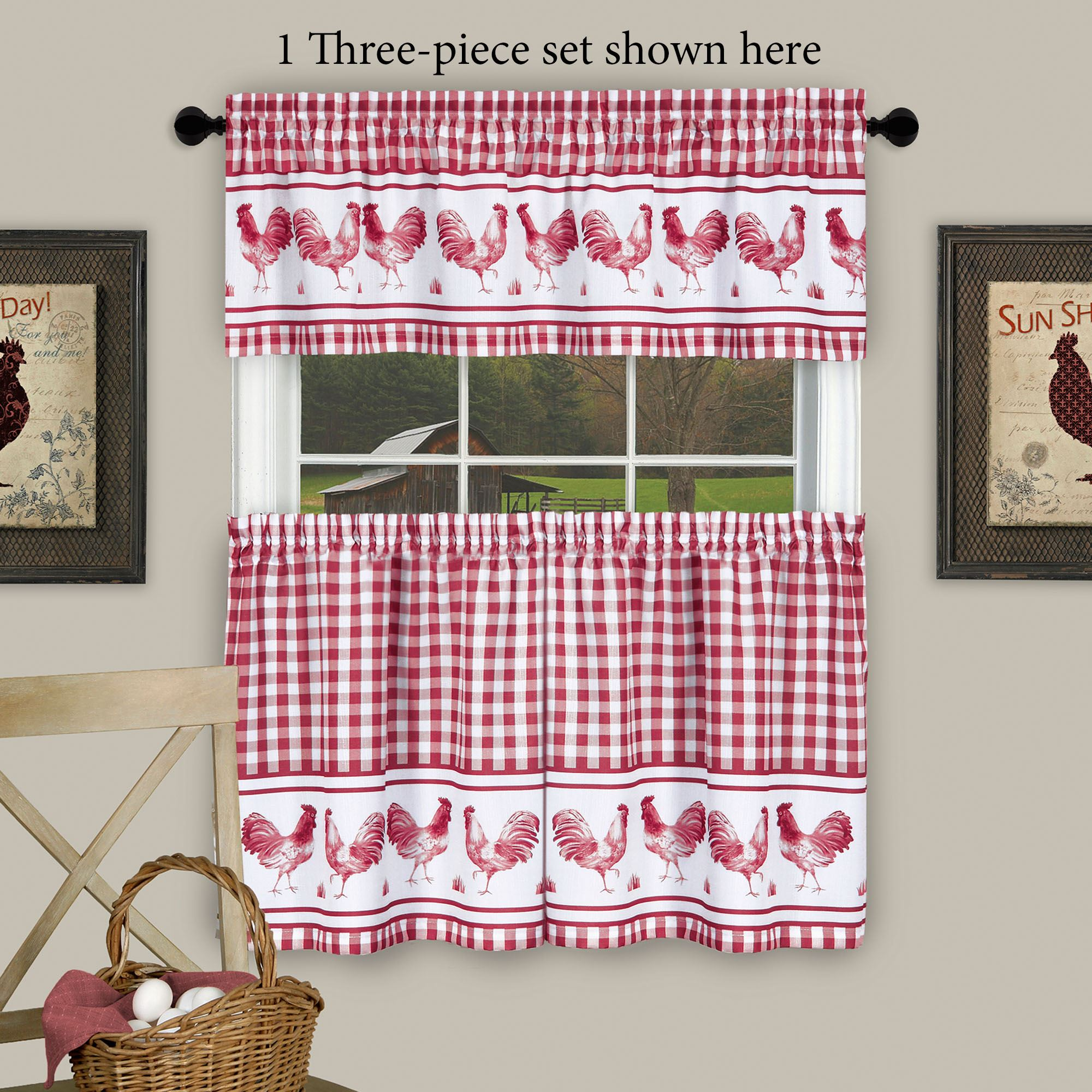 Backyard Biddy Rooster Tier And Valance Set Crimson