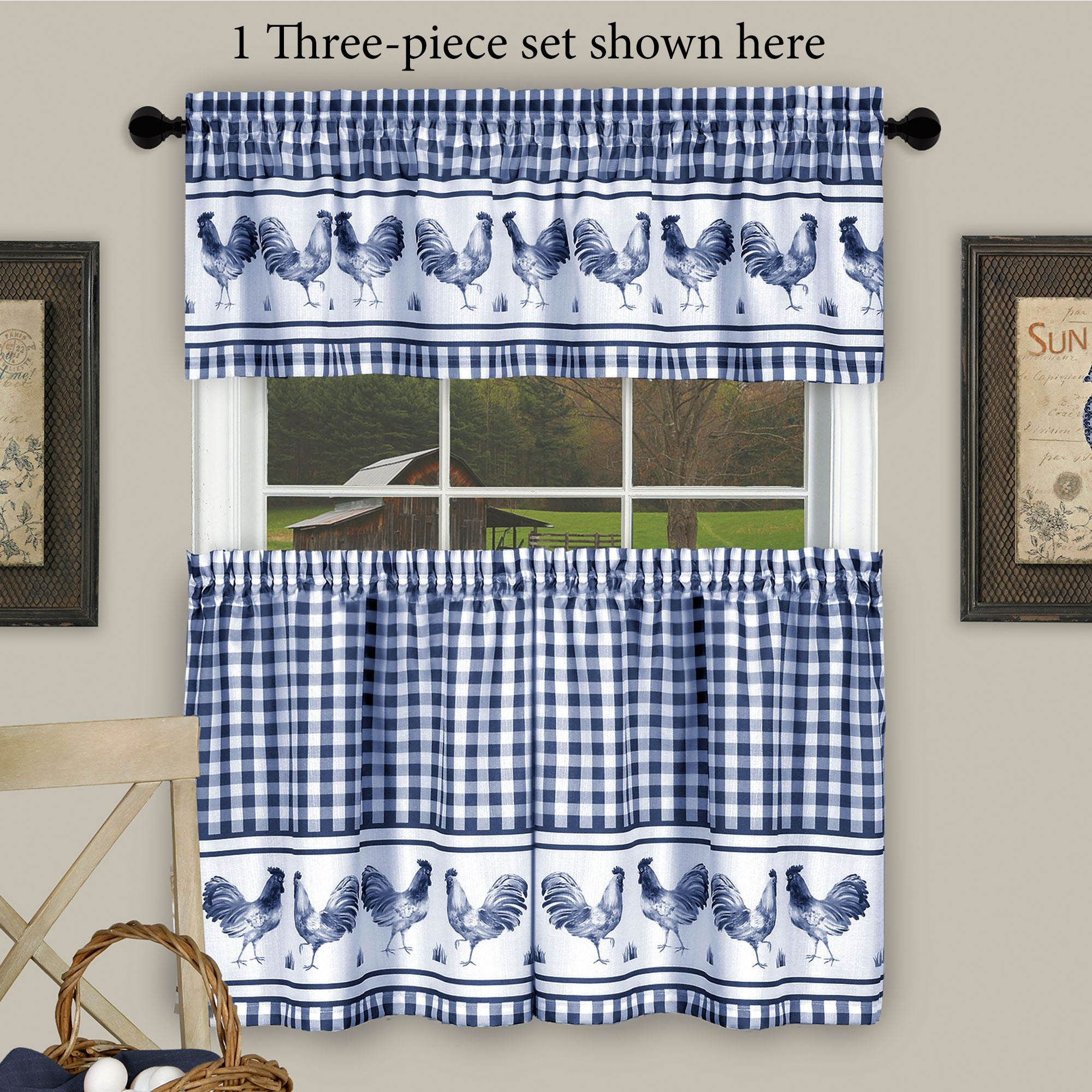Backyard Biddy Midnight Blue Rooster Kitchen Tier and Valance Set