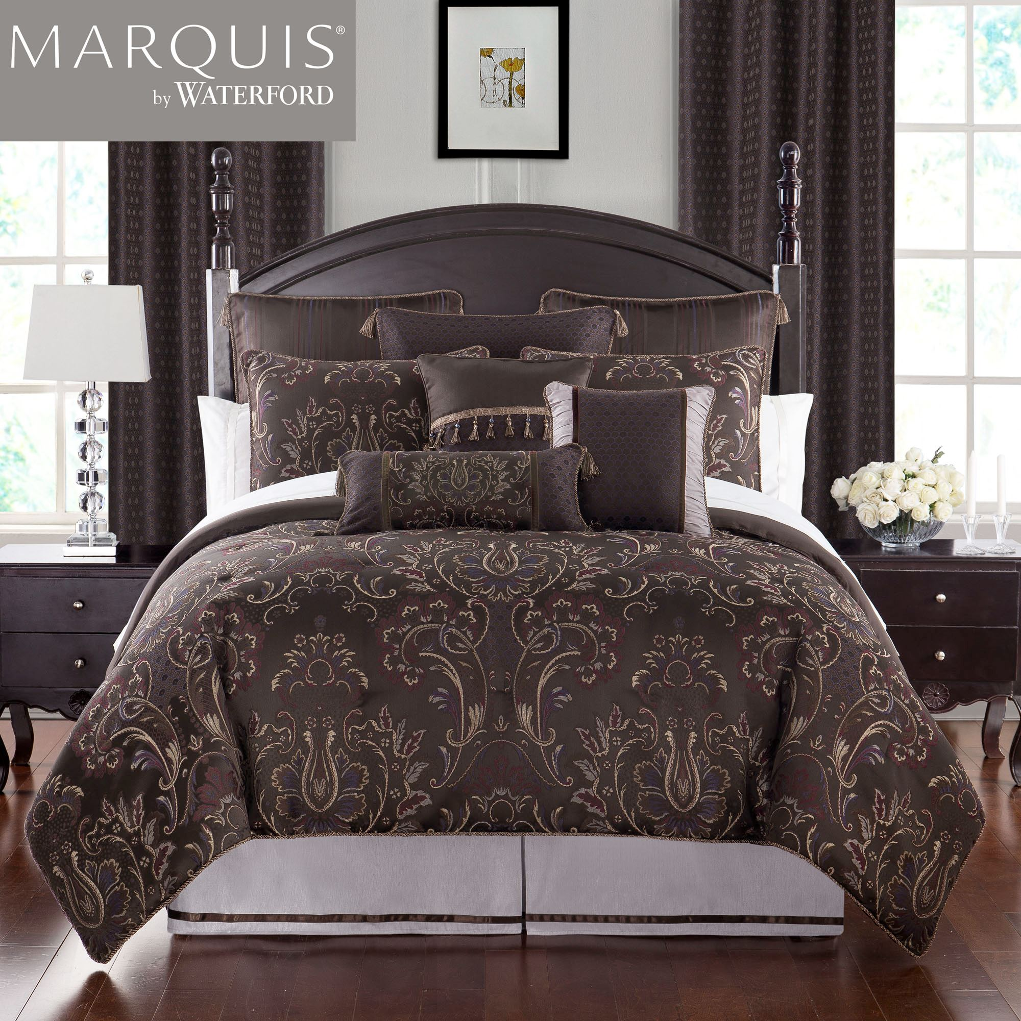 com of waterford tree tuscan bedding touch class part comforter garden rose sets set italian