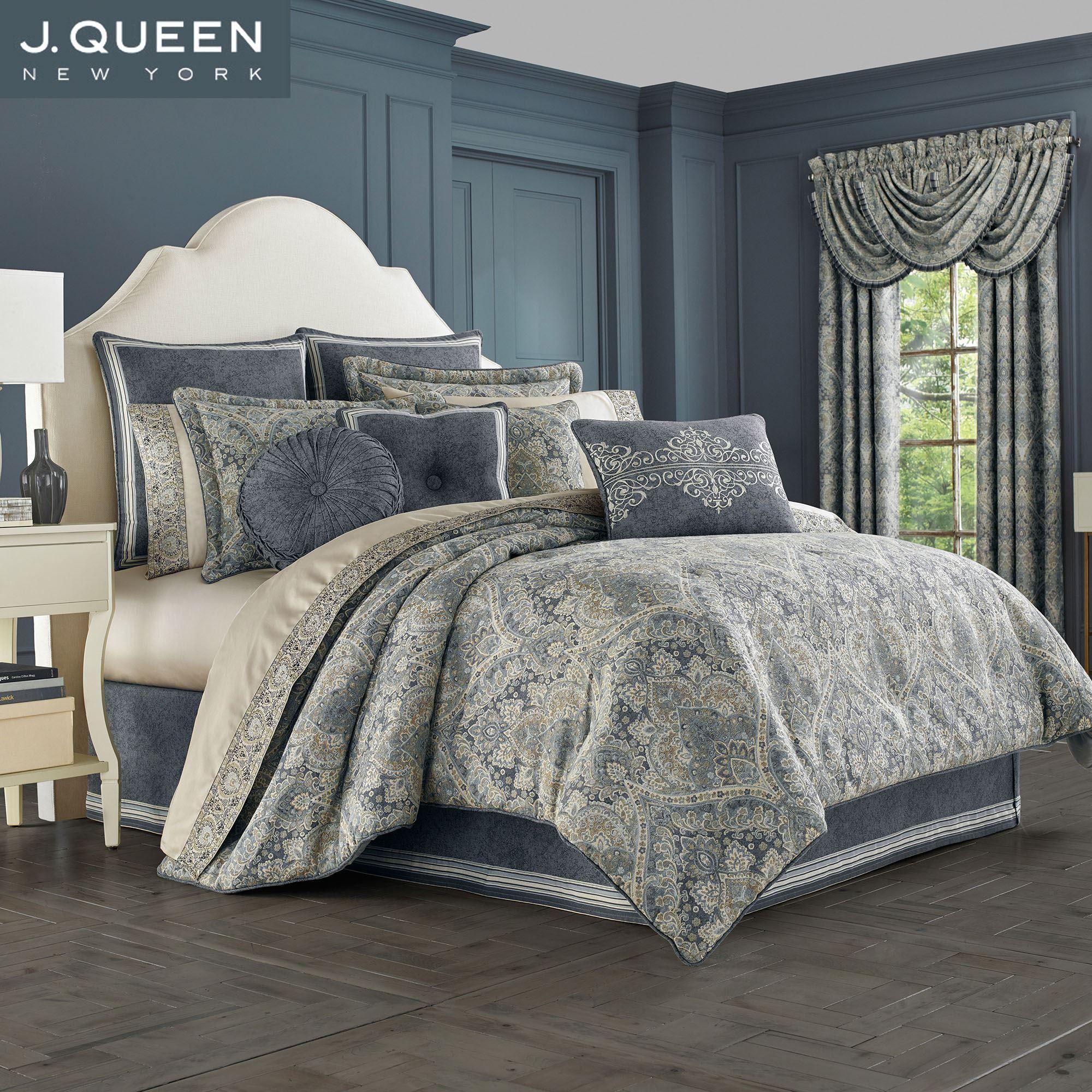 Miranda Steel Blue Damask forter Bedding by J Queen New York