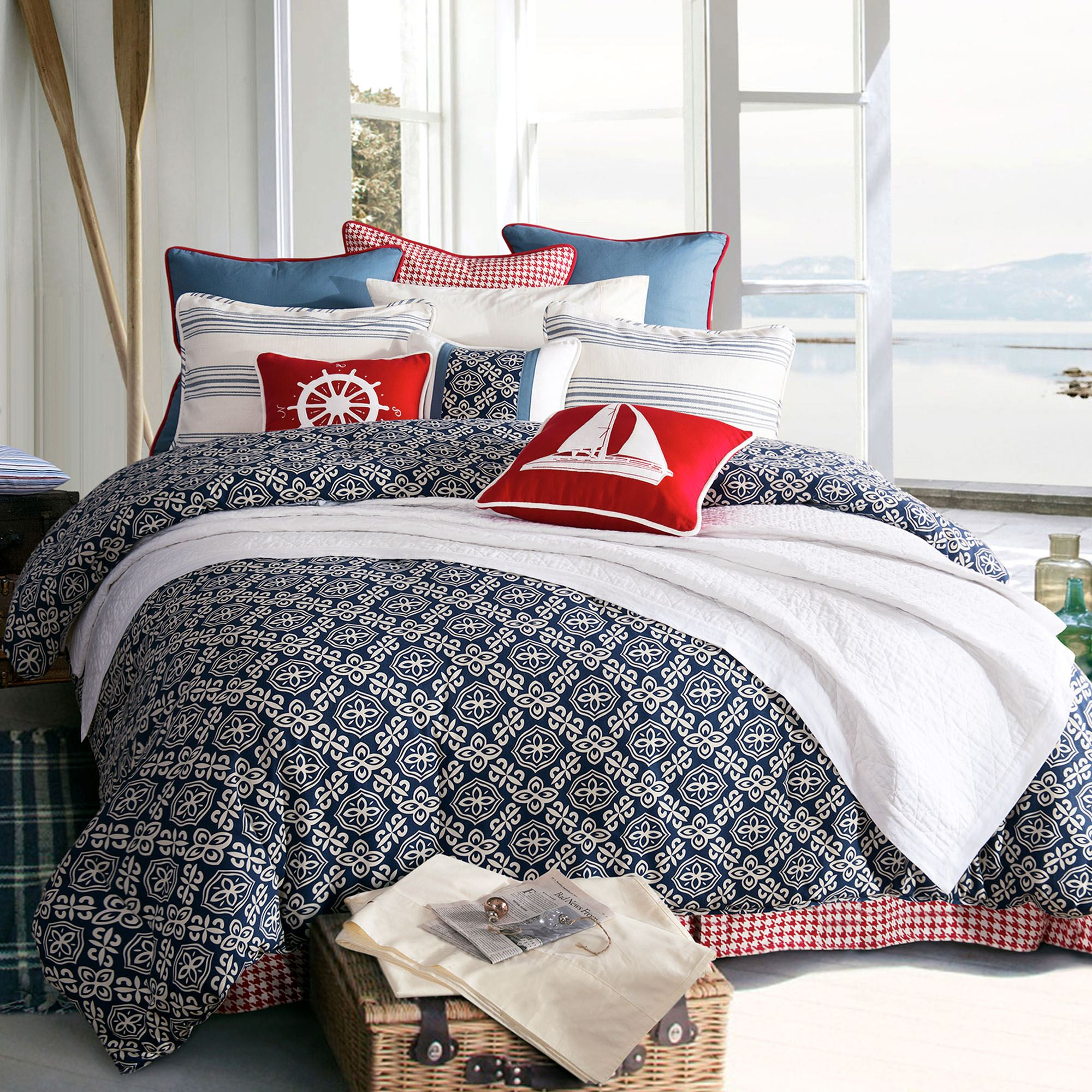 add pin to comforter parker nautical your sets stripe with bedroom cotton set fritz poppy bold the style