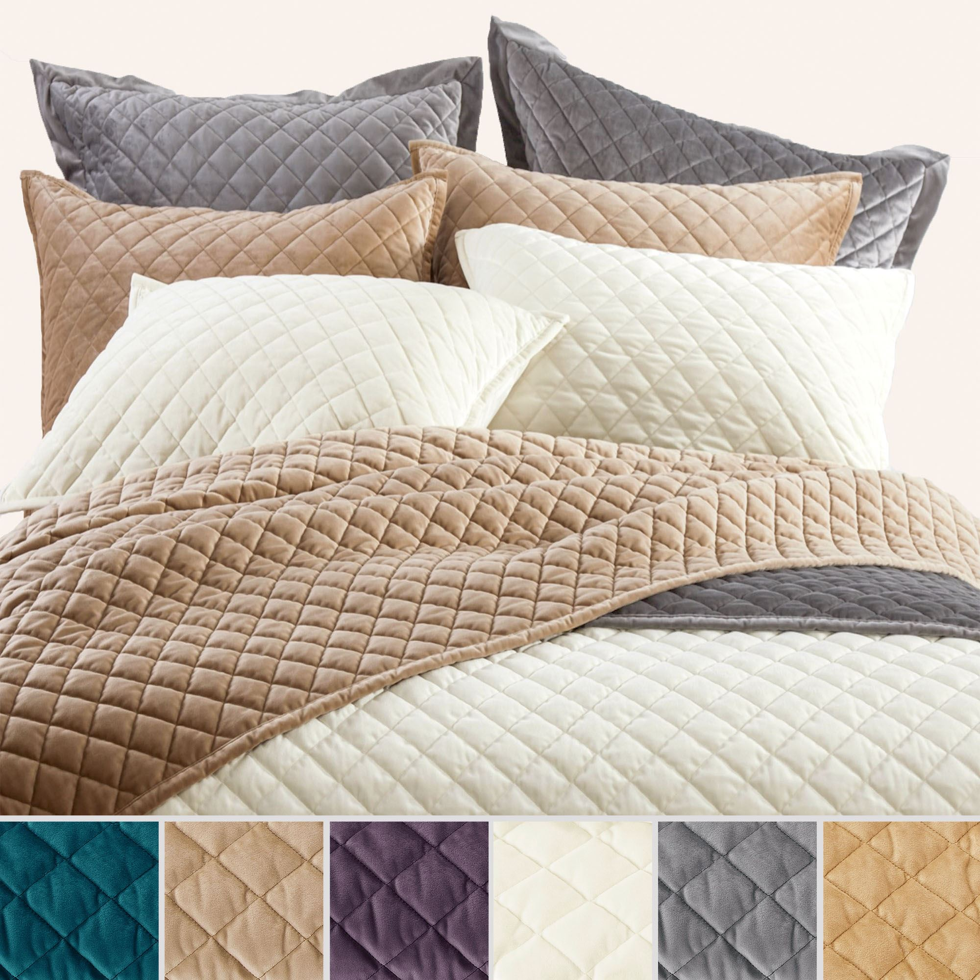 bedding pillow ivory basketweave tn bed silver alessandra velvet with karl platinum chloe lili coverlet
