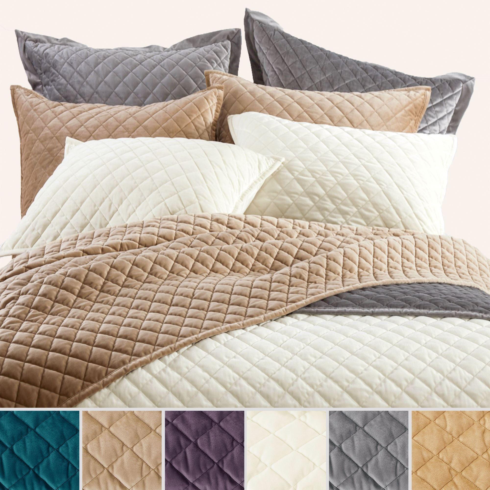 Velvet Diamond Quilted Soft Quilt Bedding