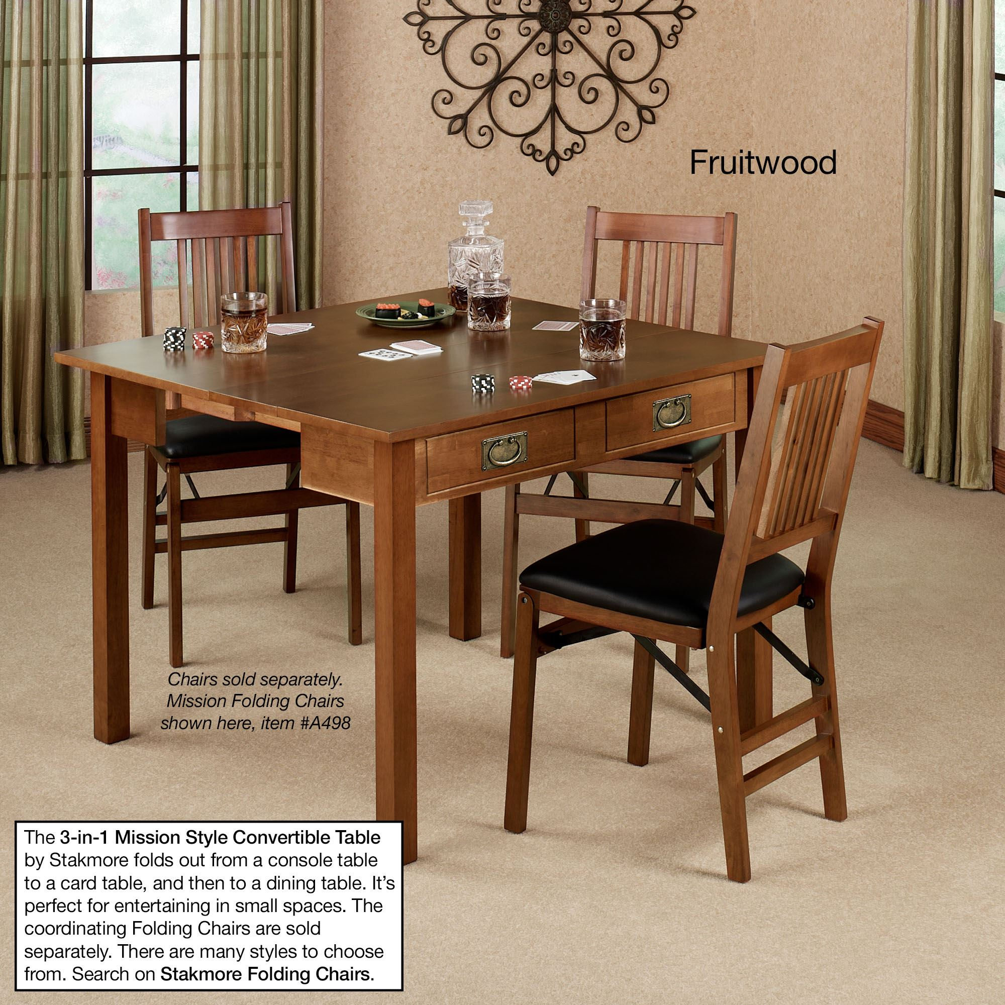 Mission fruitwood finish convertible 3 in 1 table for Table transformable