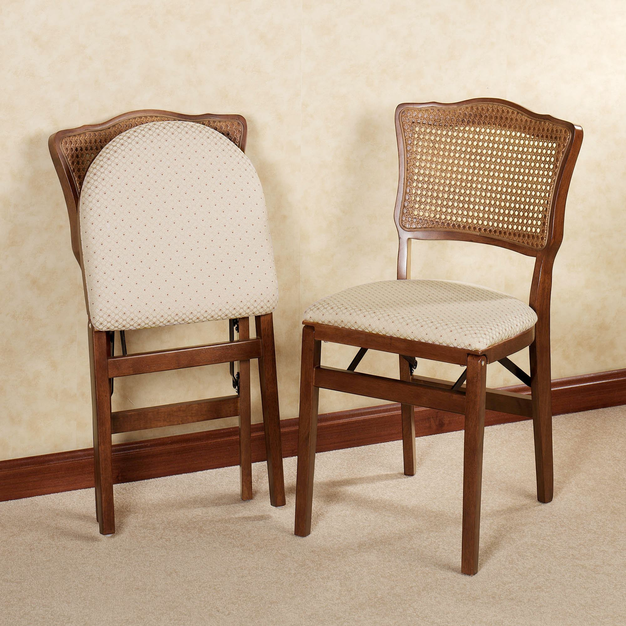 Dover Cane Back Wooden Folding Chair Pair