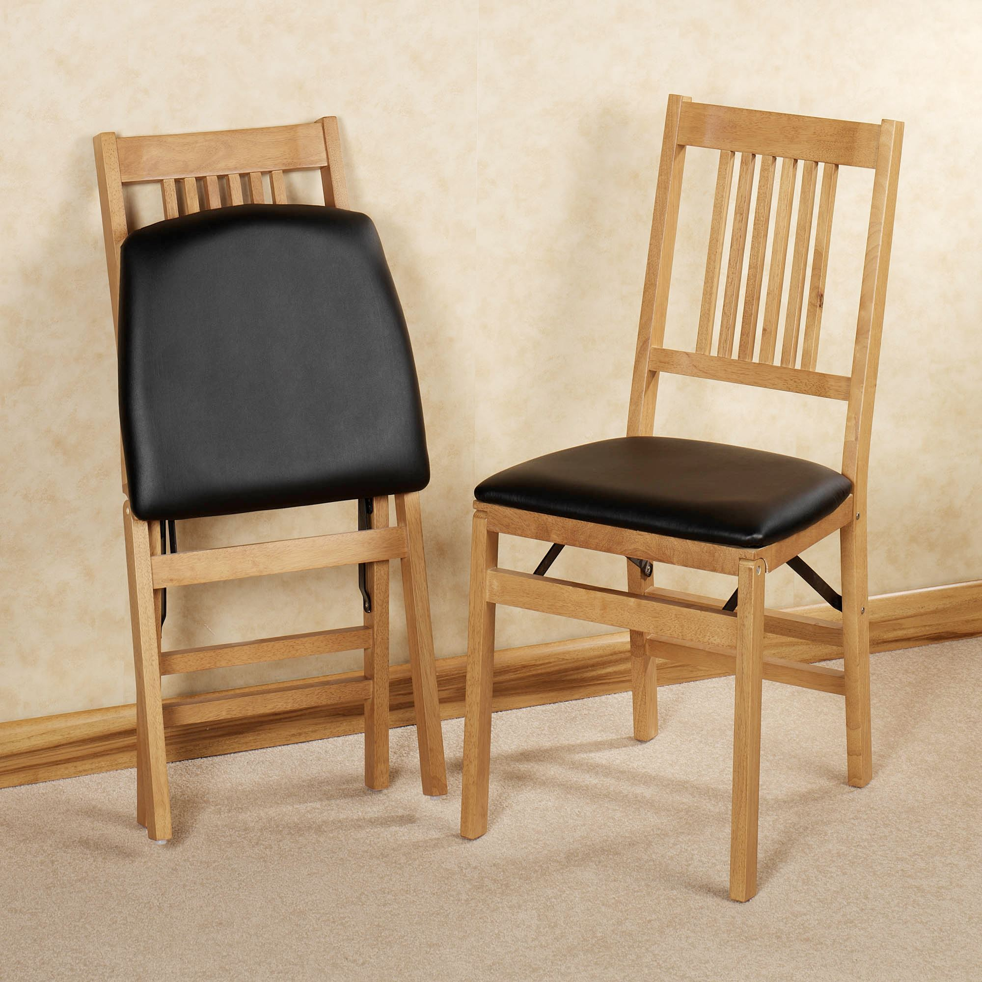 Mission Folding Chair Pair Pair & Mission Natural Oak Finish Convertible 3 in 1 Table