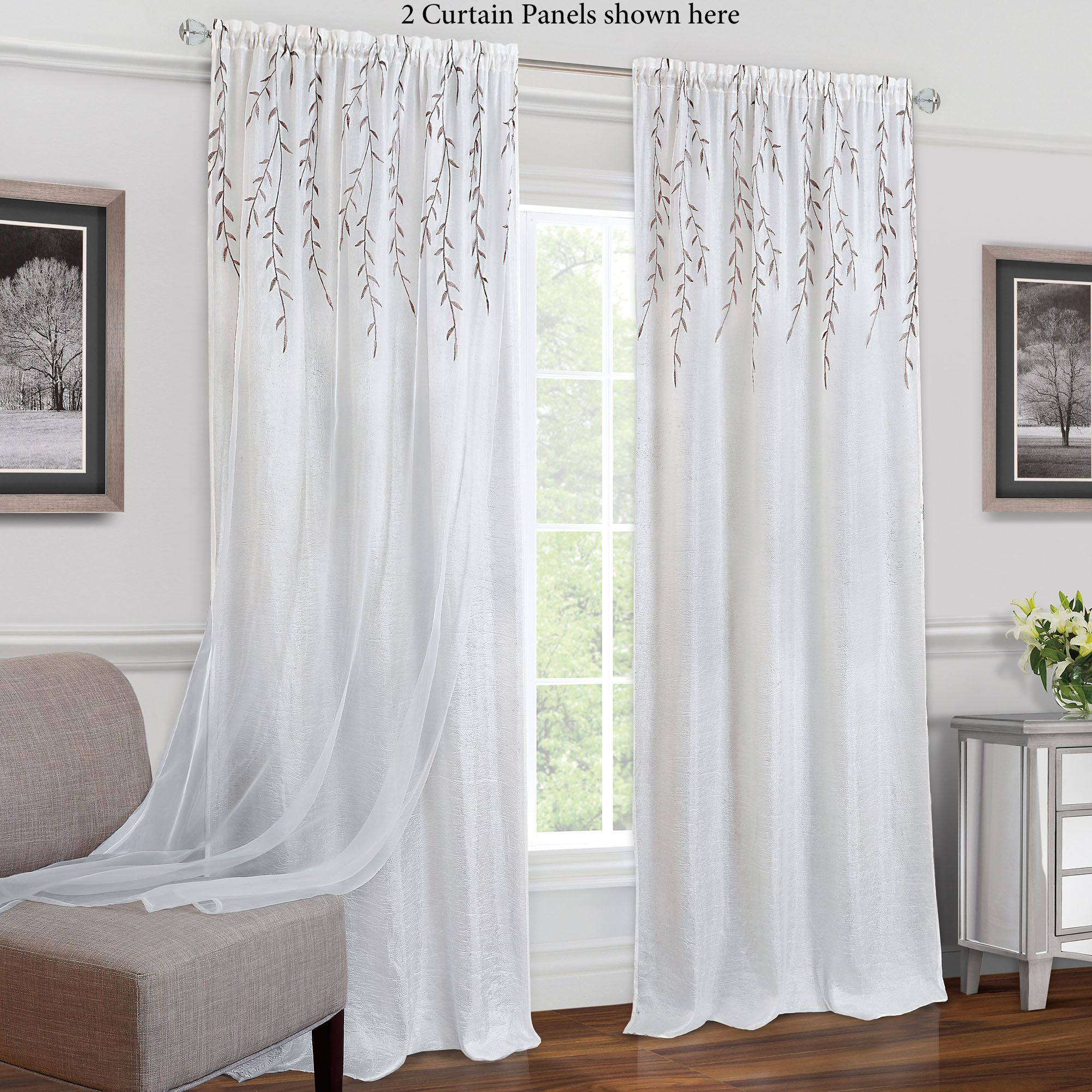 Caradan Embroidered White Curtain Panel