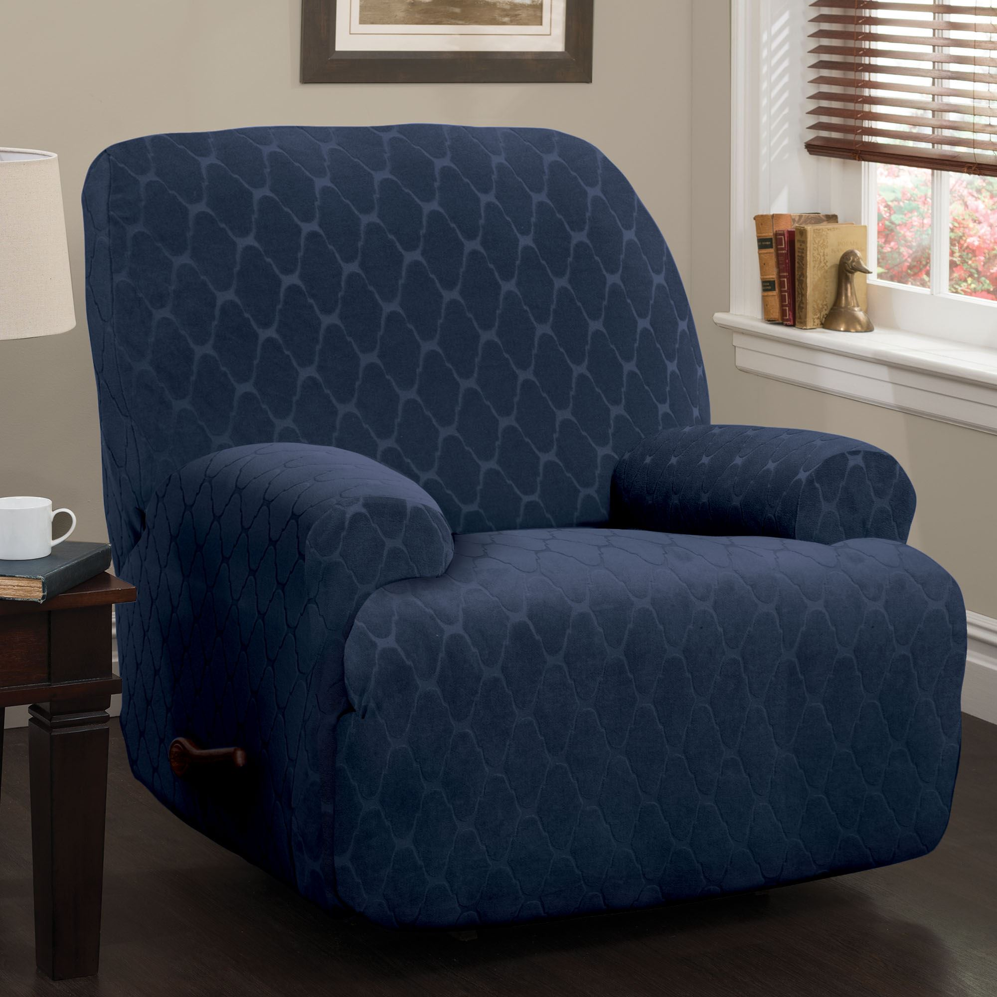 Helix Stretch Slipcover Midnight Blue Wing Chair