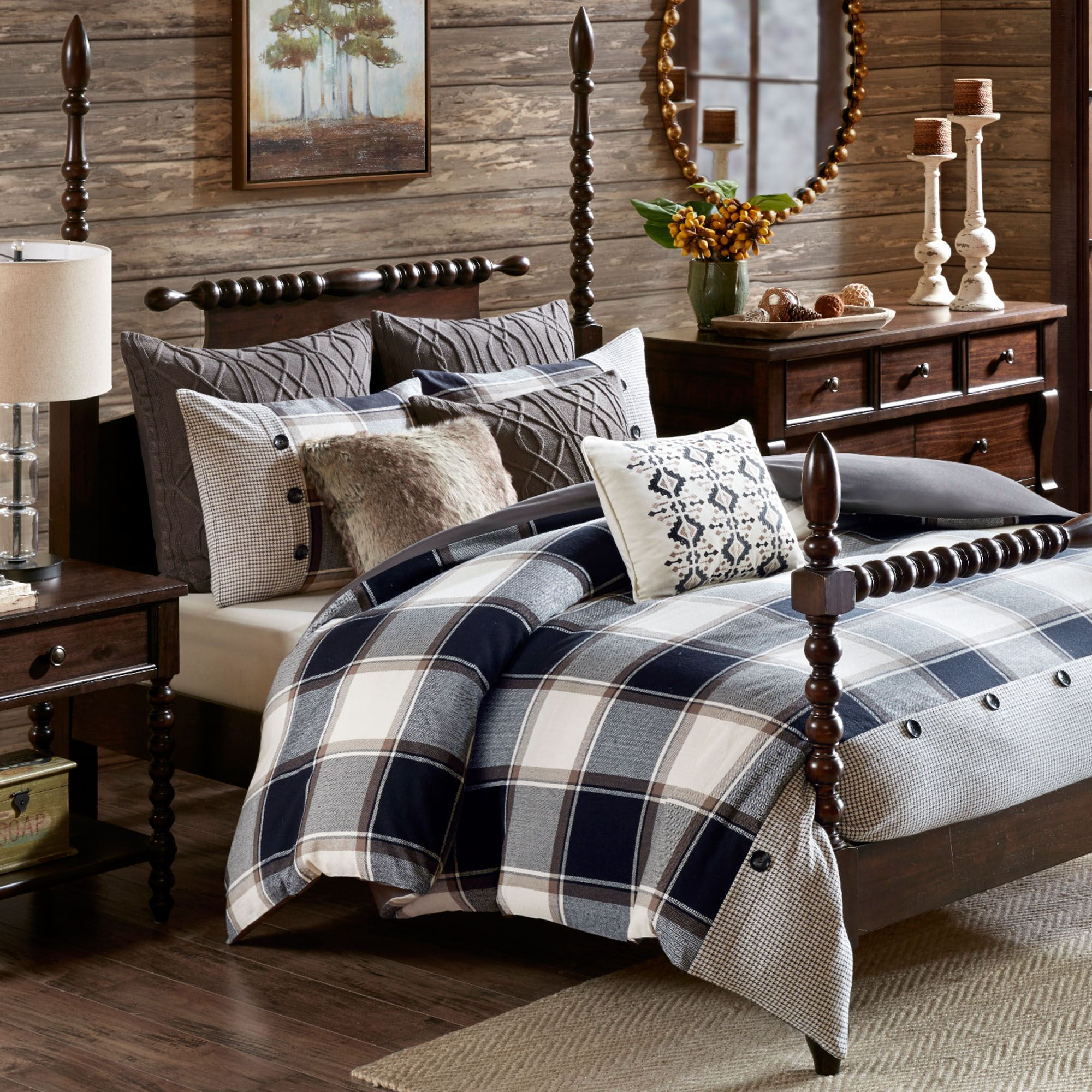 Urban Cabin Plaid 9 Pc Comforter Bed Set By Madison Park