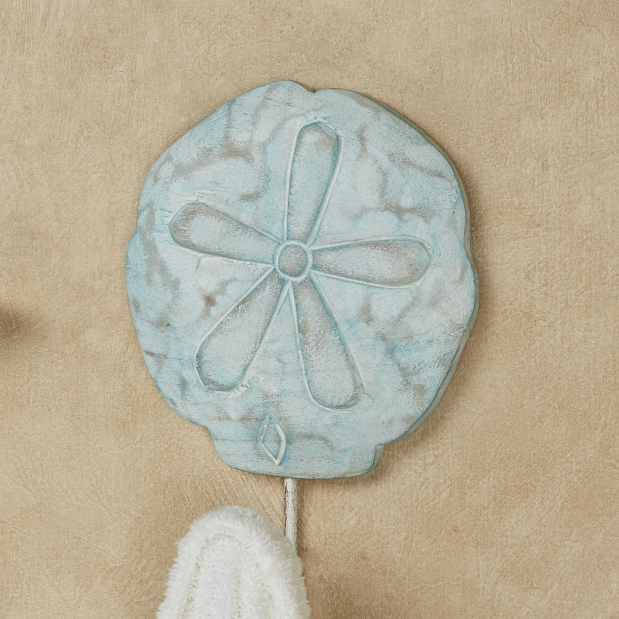Captivating Sand Dollar Wall Hook Aqua