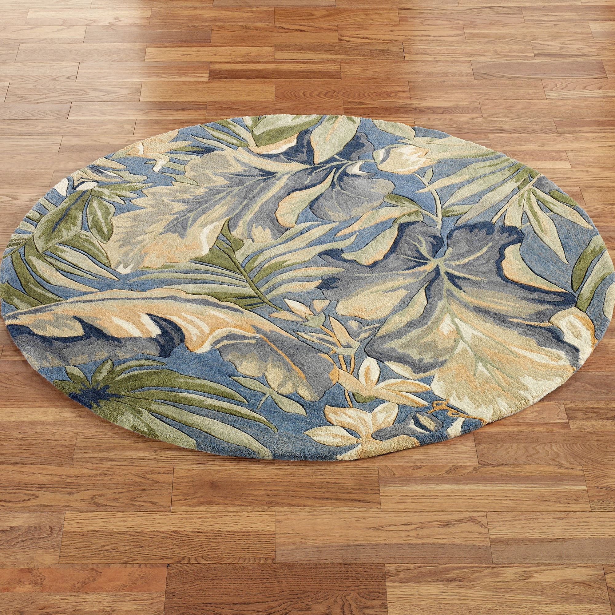 Paradise Blue Tropical Round Rugs