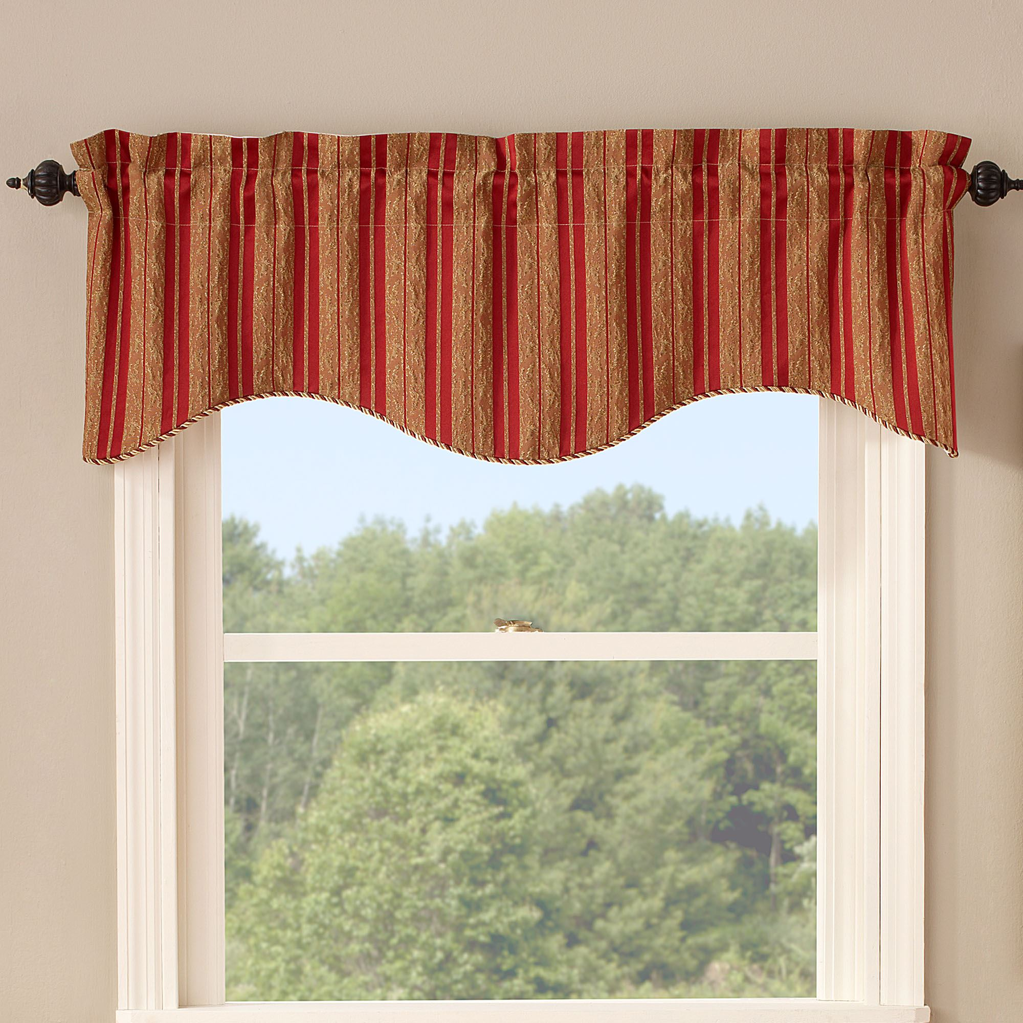 Cooper Striped Scalloped Window Valance