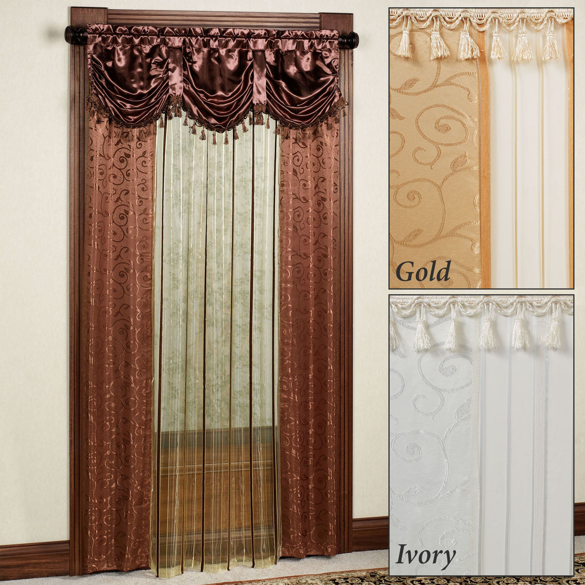 curtains with attached valance Tango Sheer Curtain Panel with Attached Valance curtains with attached valance