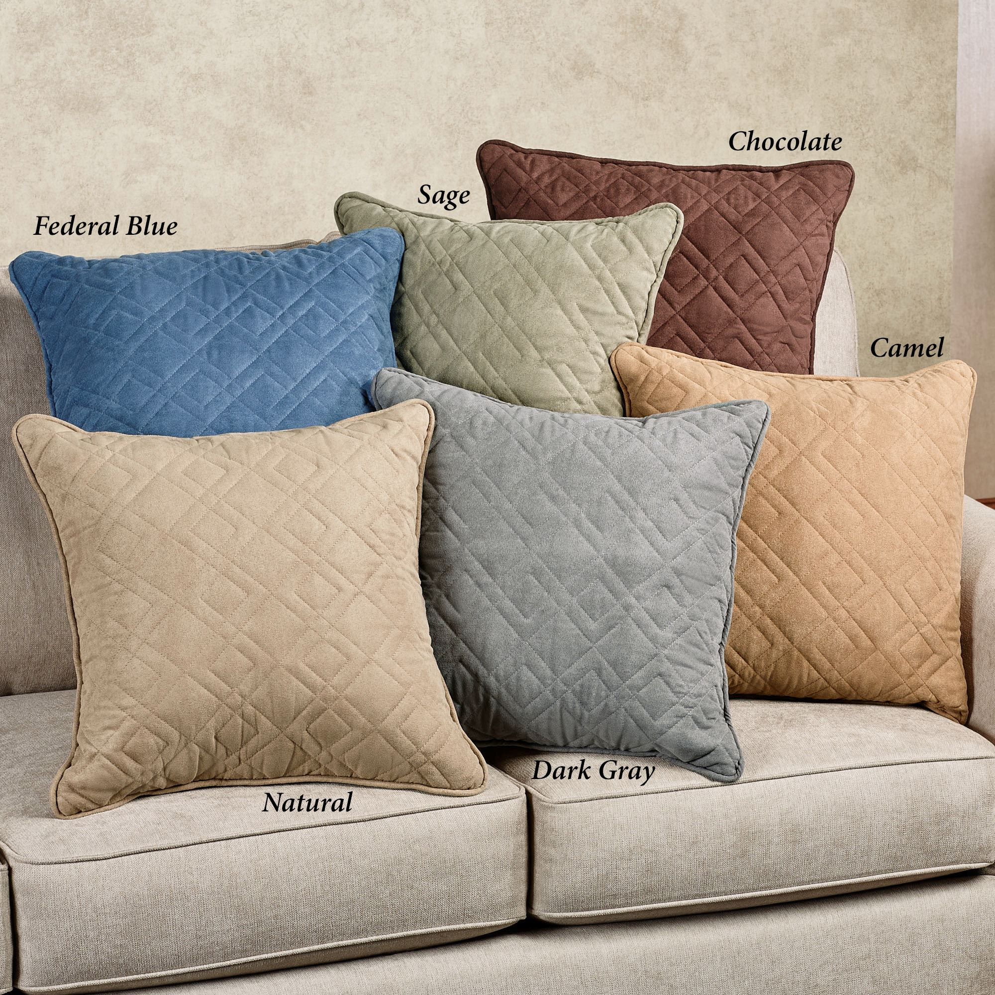our throw p design mason microfiber square faux pillows quilted sage pillow piped accent suede
