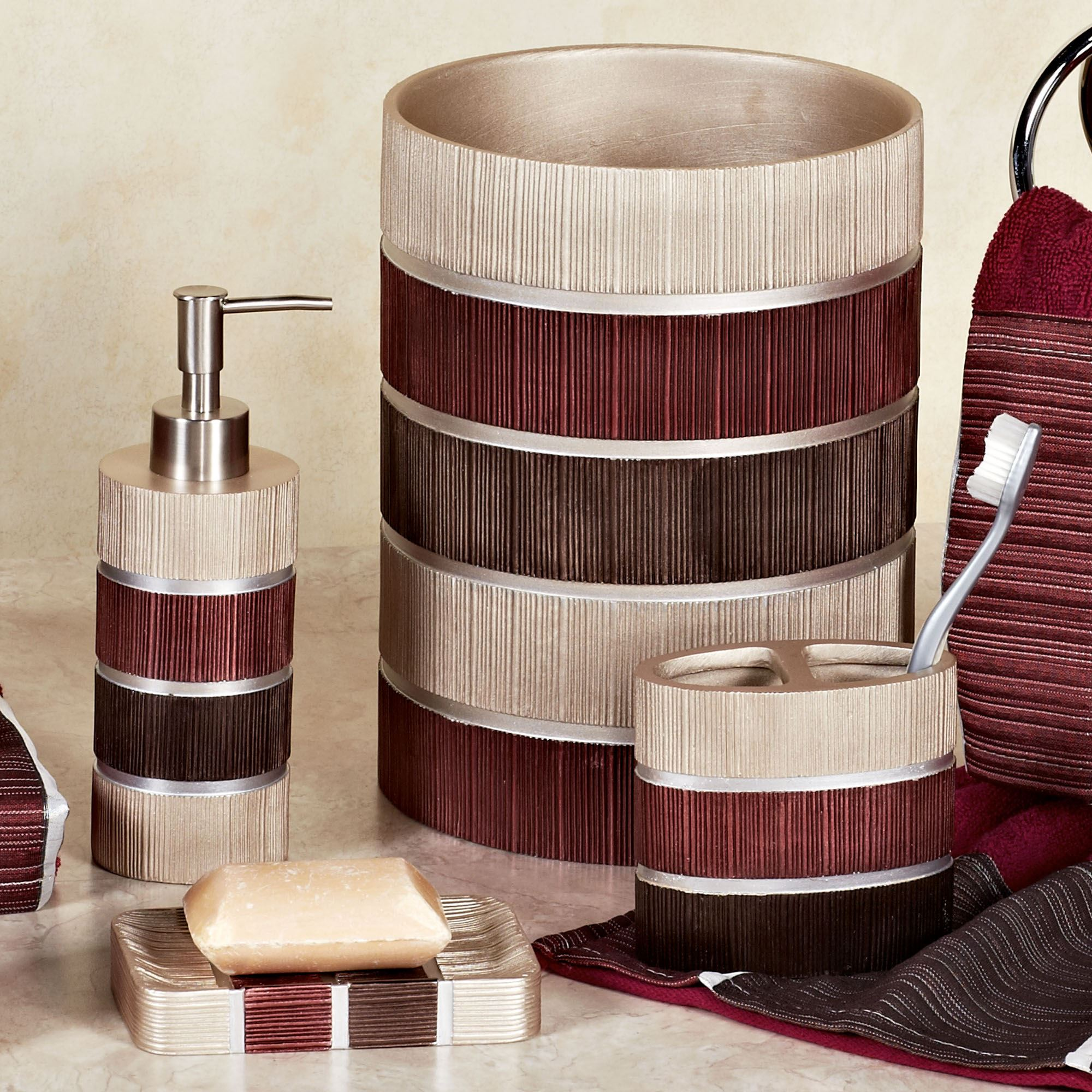 black mosaic bathroom accessories. Click to expand Modern Line Burgundy Striped Bath Accessories