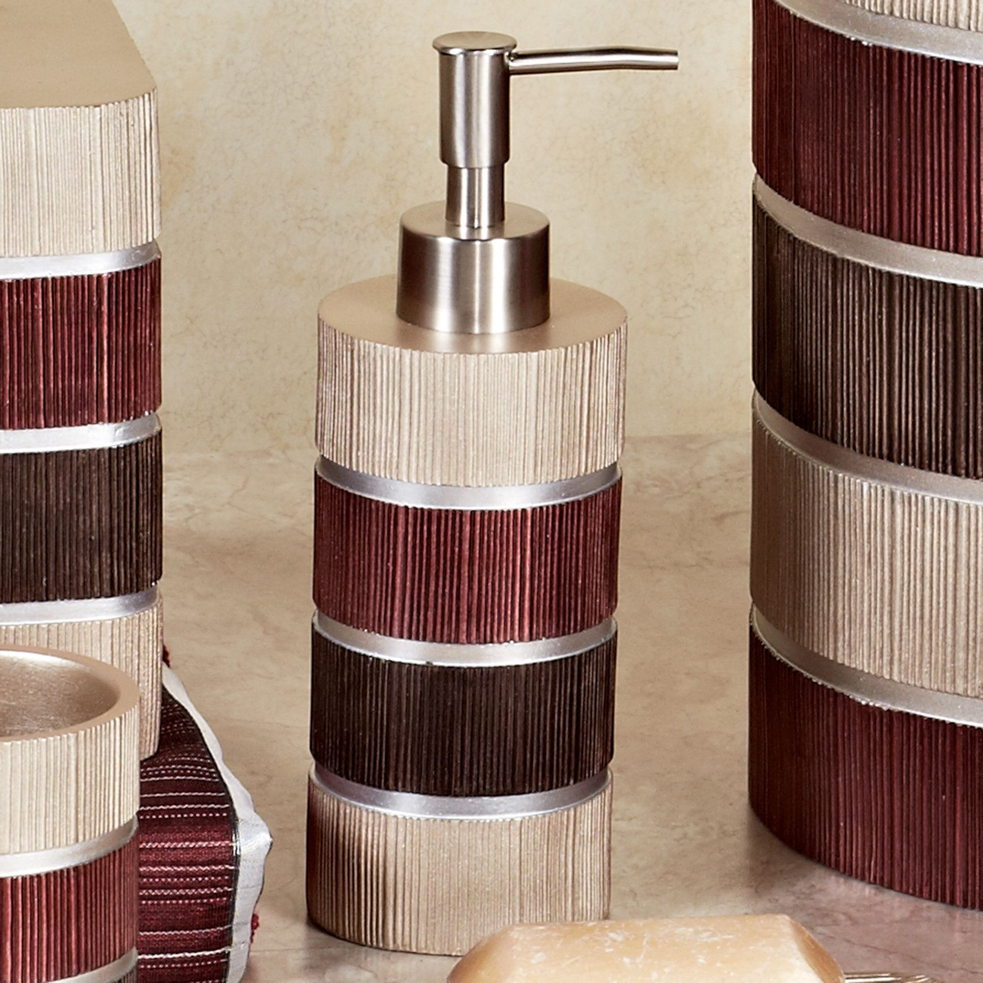 Modern Line Burgundy Striped Bath Accessories