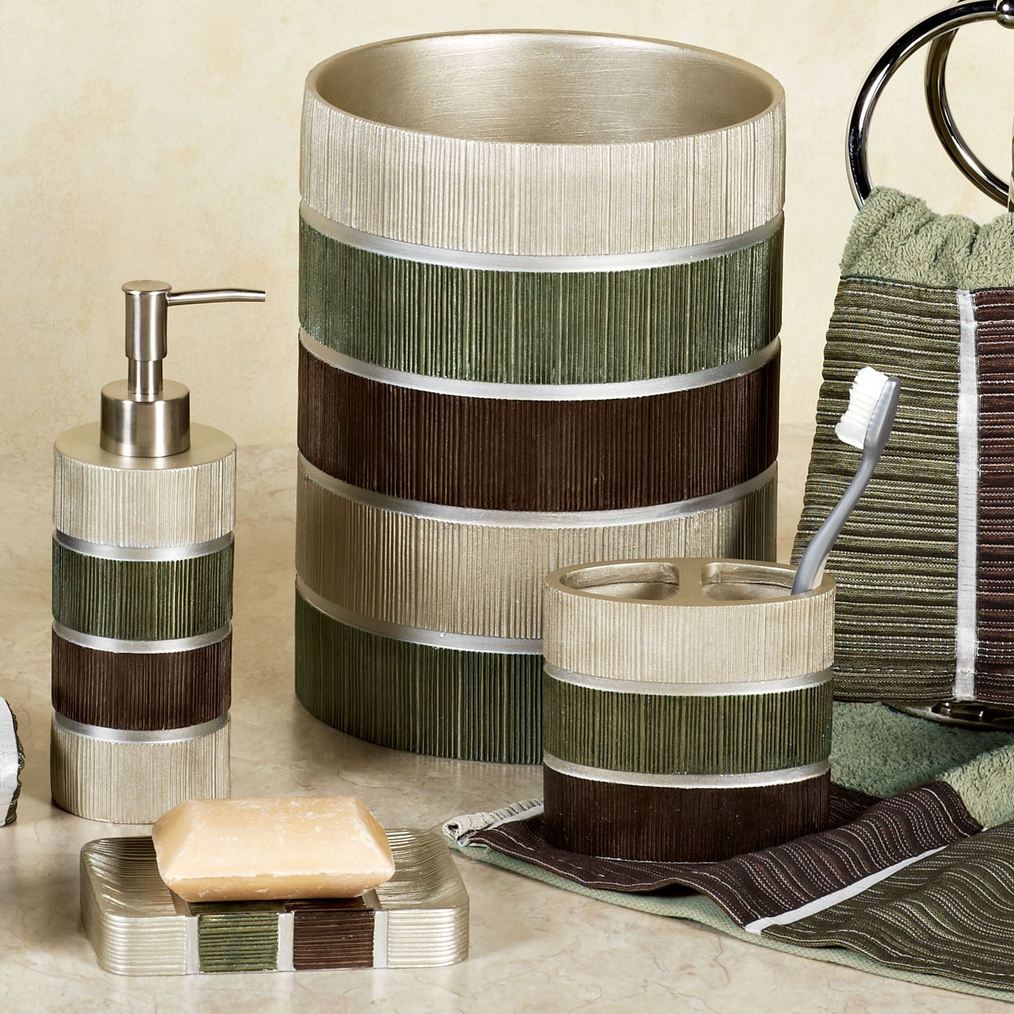 Modern line sage striped bath accessories for Brown and white bathroom accessories
