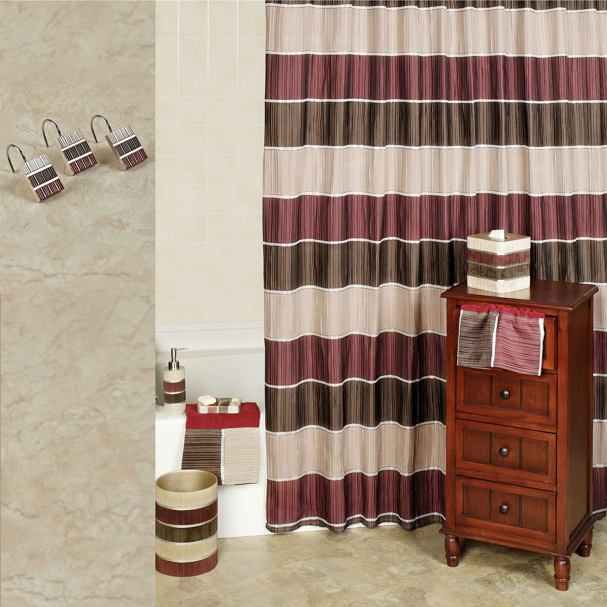 Rich Burgundy Red Ruffled Fabric Shower Curtain Shower