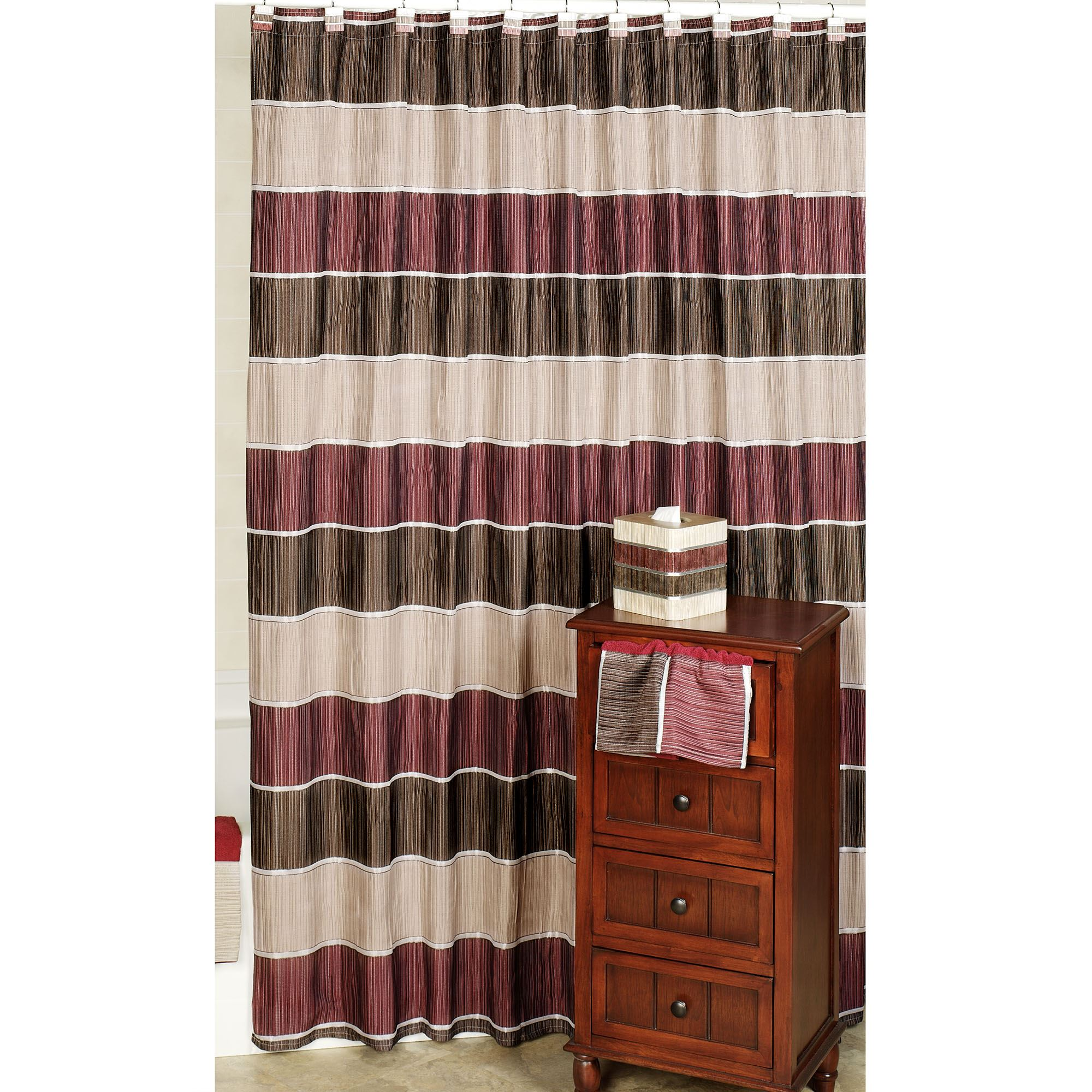 Modern Line Burgundy Striped Shower Curtain