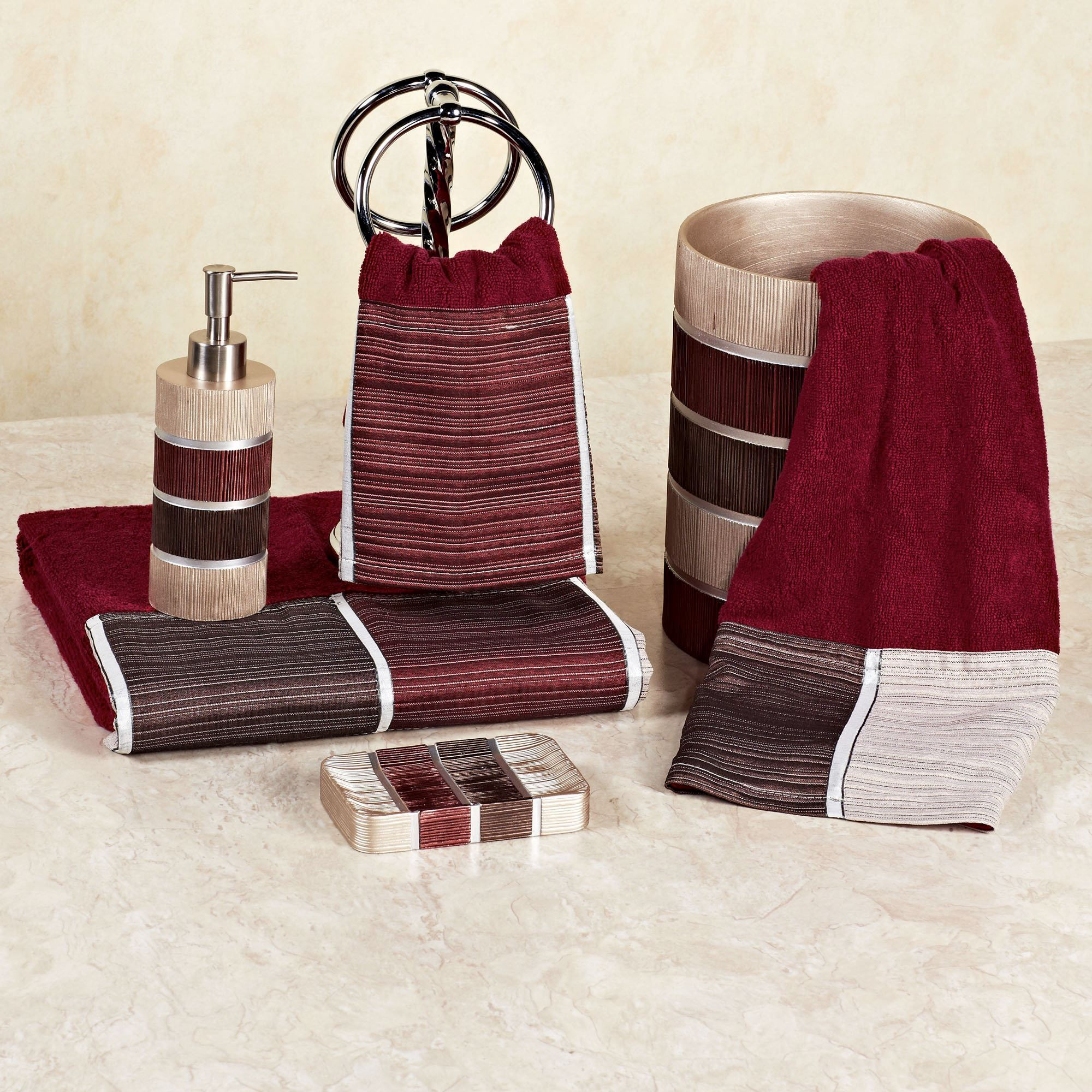 Modern Line Burgundy Towel Set Bath Hand Wash Touch To Zoom