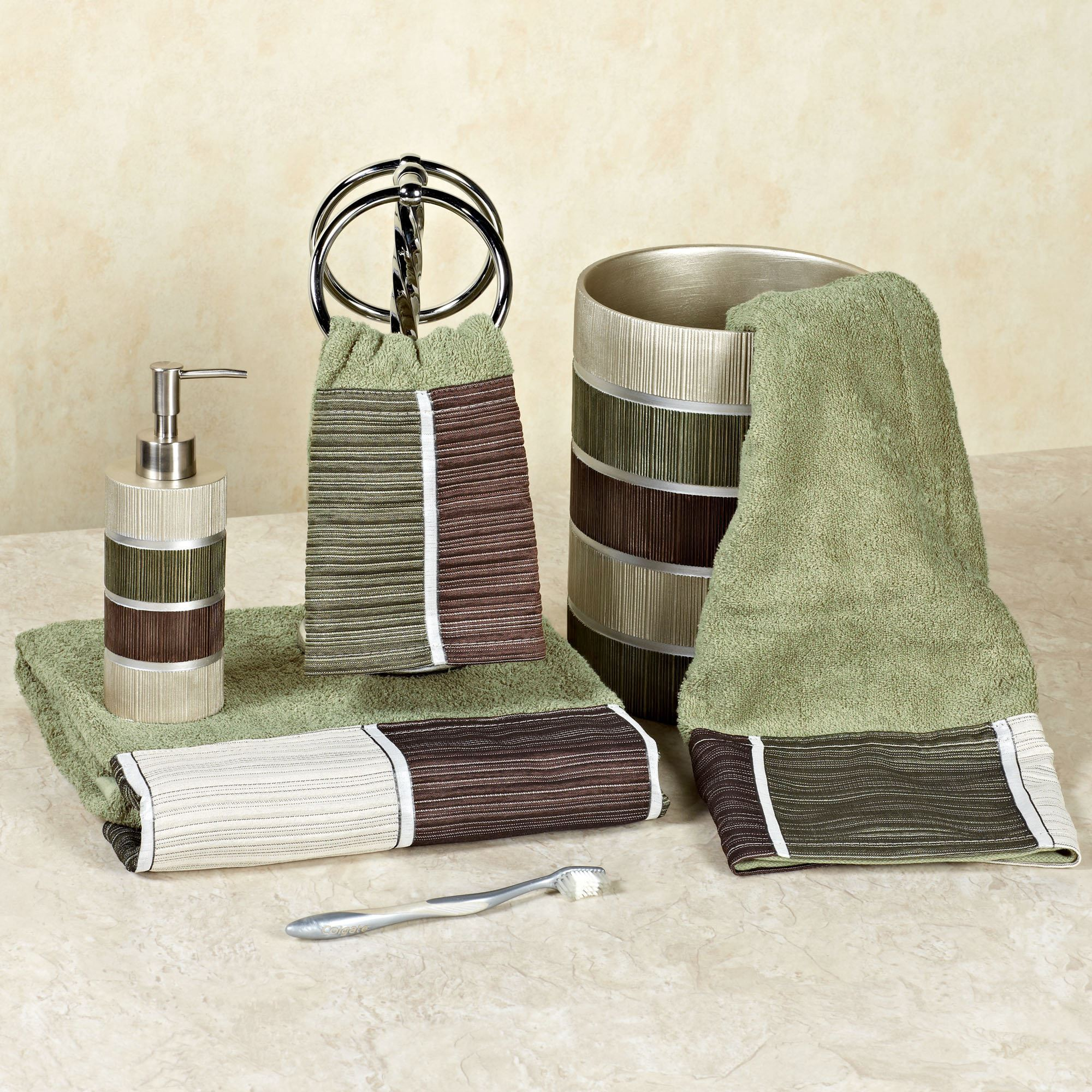 Modern Line Sage Striped Shower Curtain