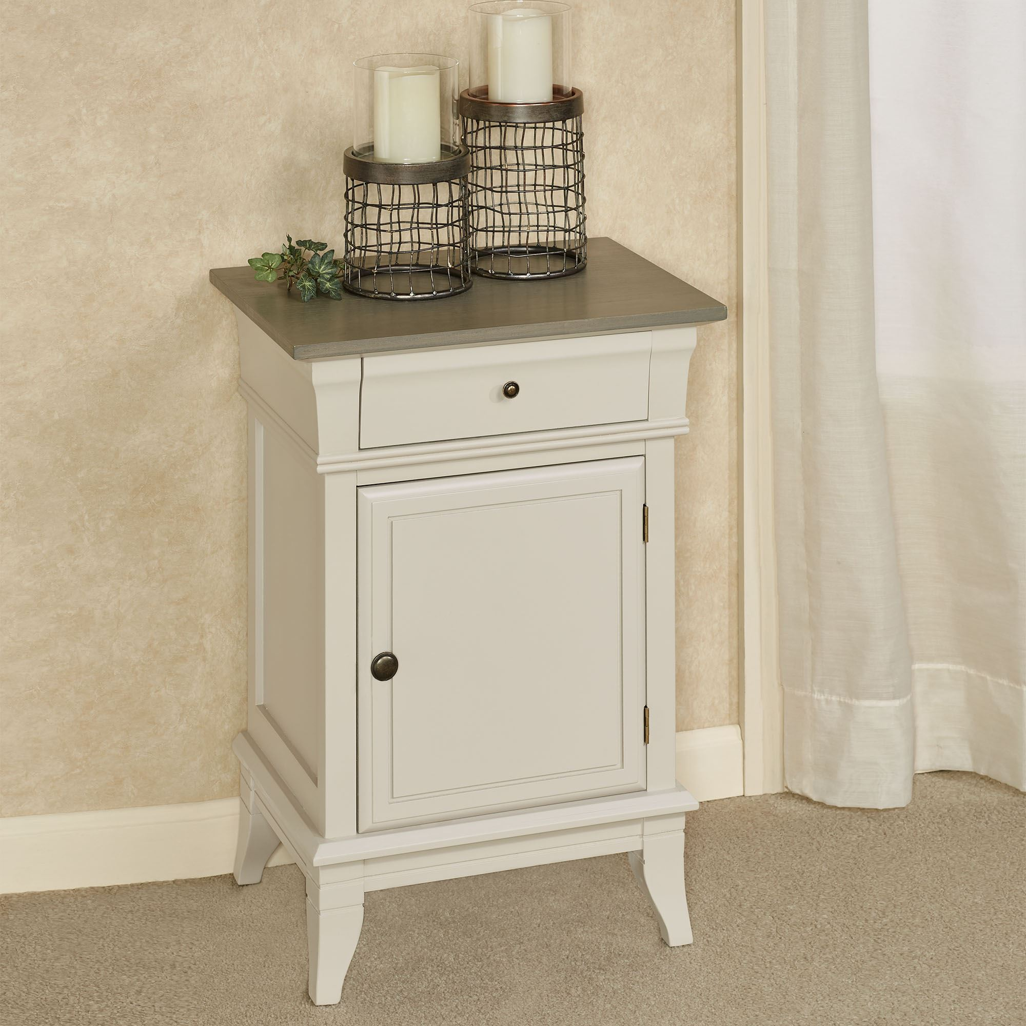 Off White Wooden Side Storage Cabinet
