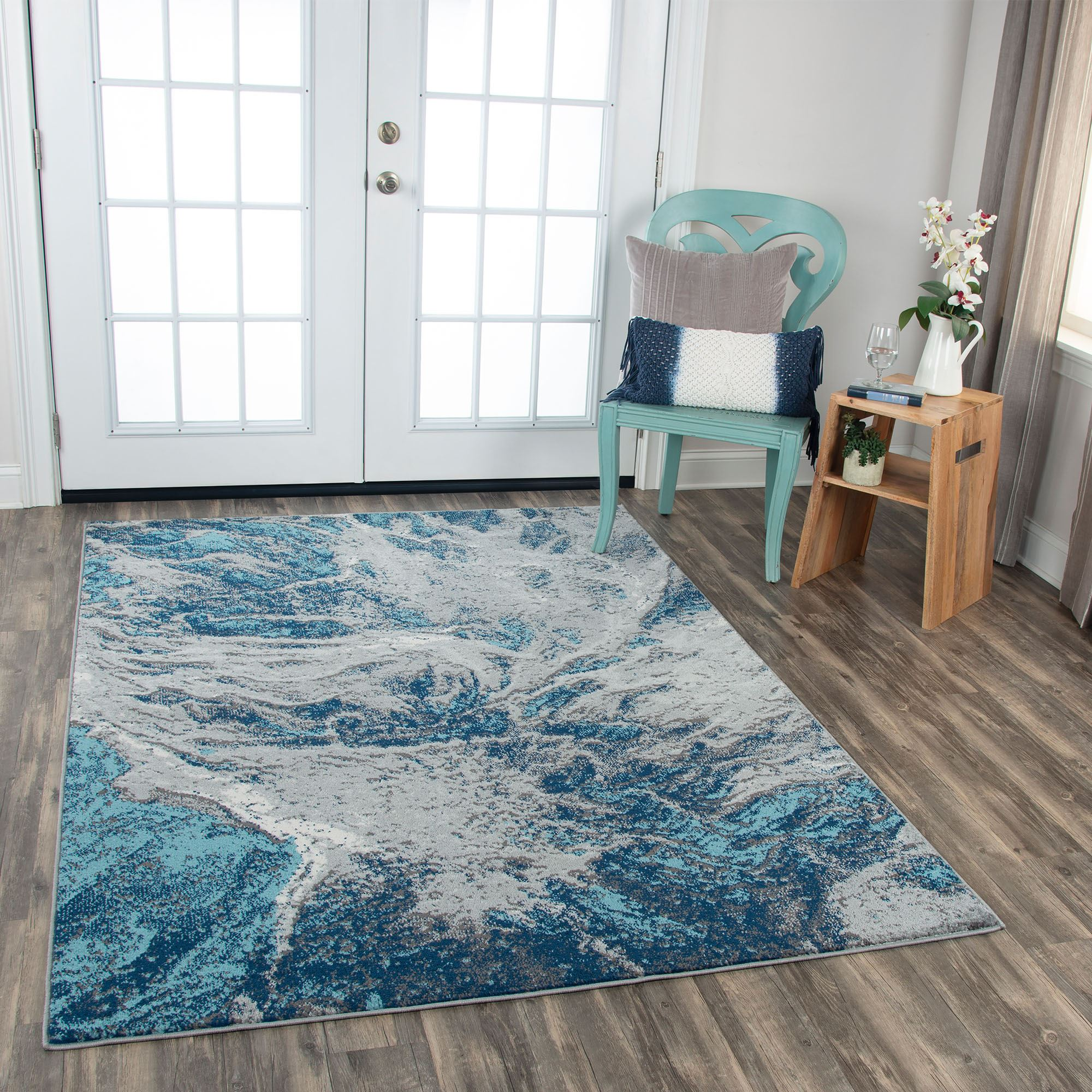 Agua Cool Toned Abstract Area Rugs