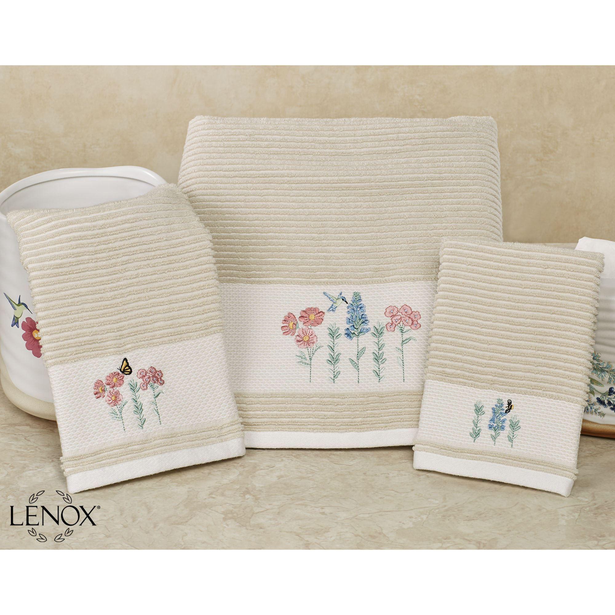 c25bc20671 Lenox Meadow Birds Embroidered Floral Bath Towel Set