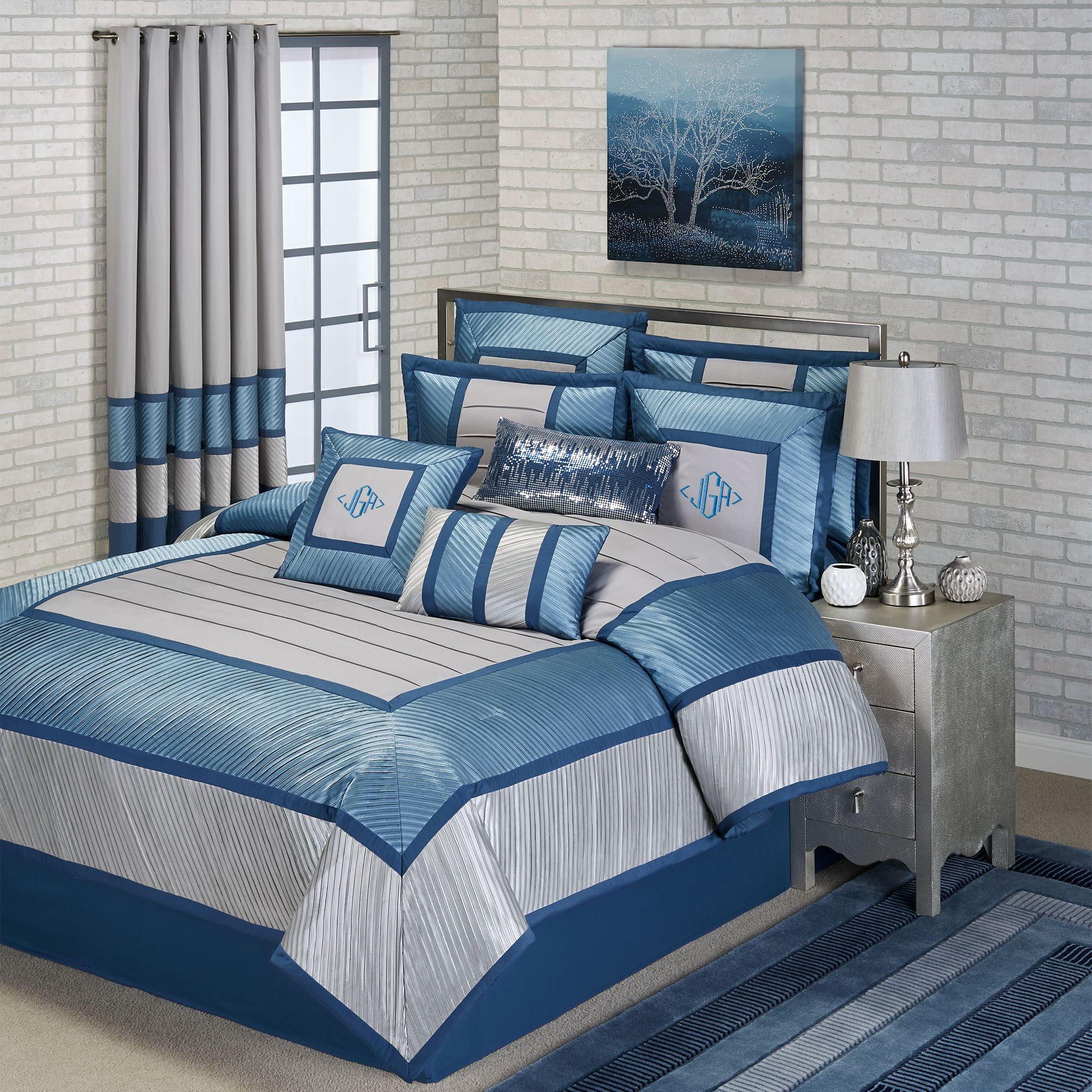Beta Contemporary Blue Comforter Bedding